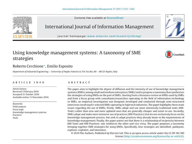 Using knowledge management systems: A taxonomy of SME strategies