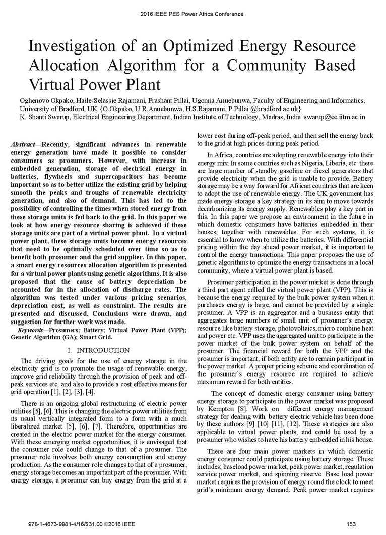 Investigation of an Optimized Energy Resource Allocation Algorithm for a Community Based Virtual Power Plant