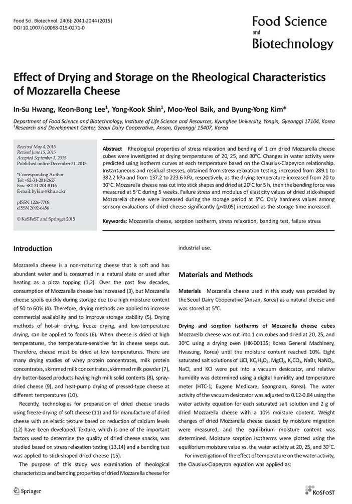 Effect of Drying and Storage on the Rheological Characteristics of Mozzarella Cheese