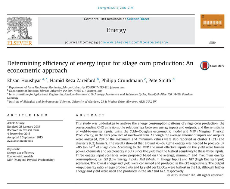 Determining efficiency of energy input for silage corn production: An econometric approach