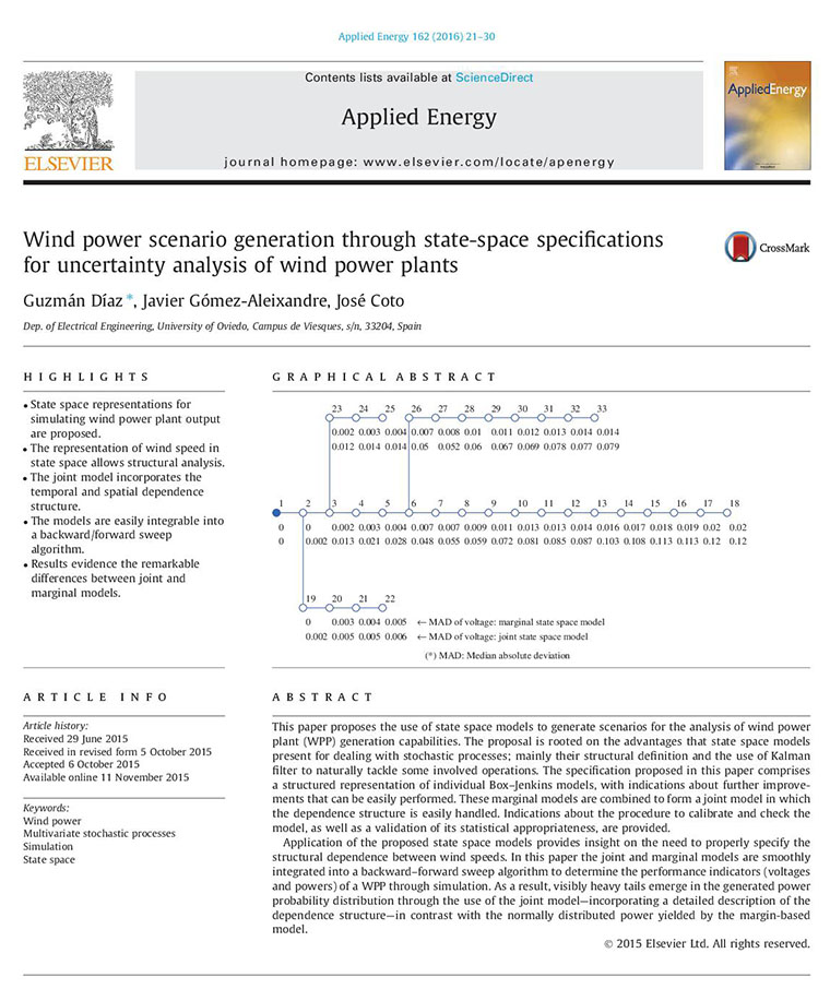 Wind power scenario generation through state-space specifications for uncertainty analysis of wind power plants