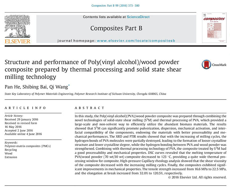 Structure and performance of Poly(vinyl alcohol)/wood powder composite prepared by thermal processing and solid state shear milling technology