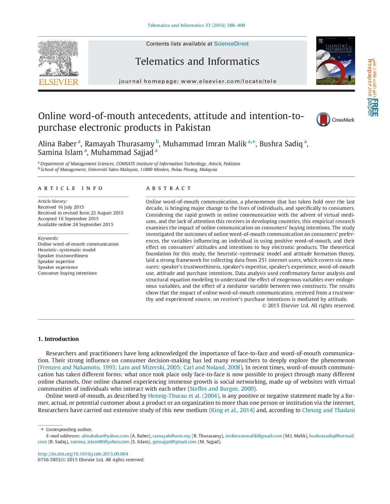 Online word-of-mouth antecedents, attitude and intention-topurchase electronic products in Pakistan