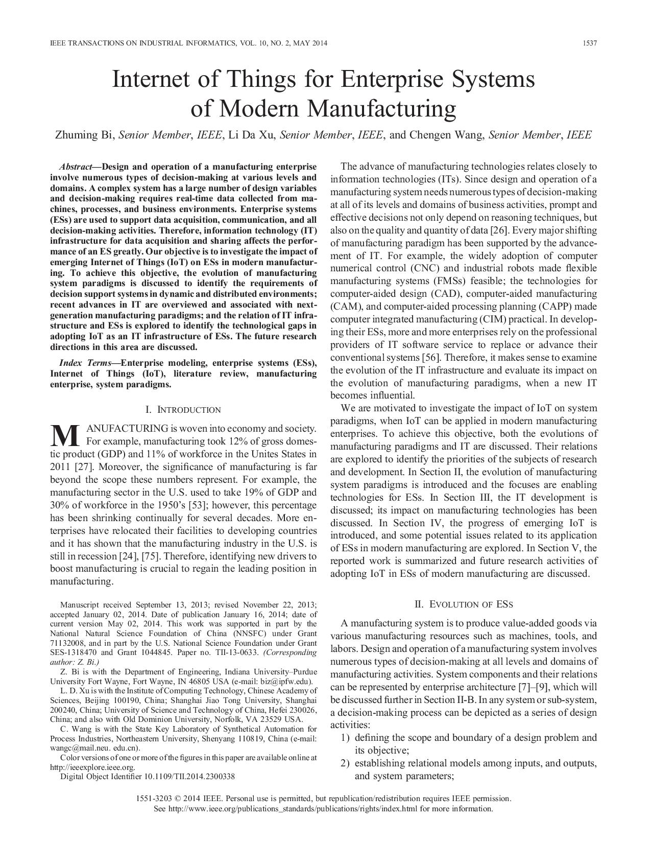 Internet of Things for Enterprise Systems of Modern Manufacturing