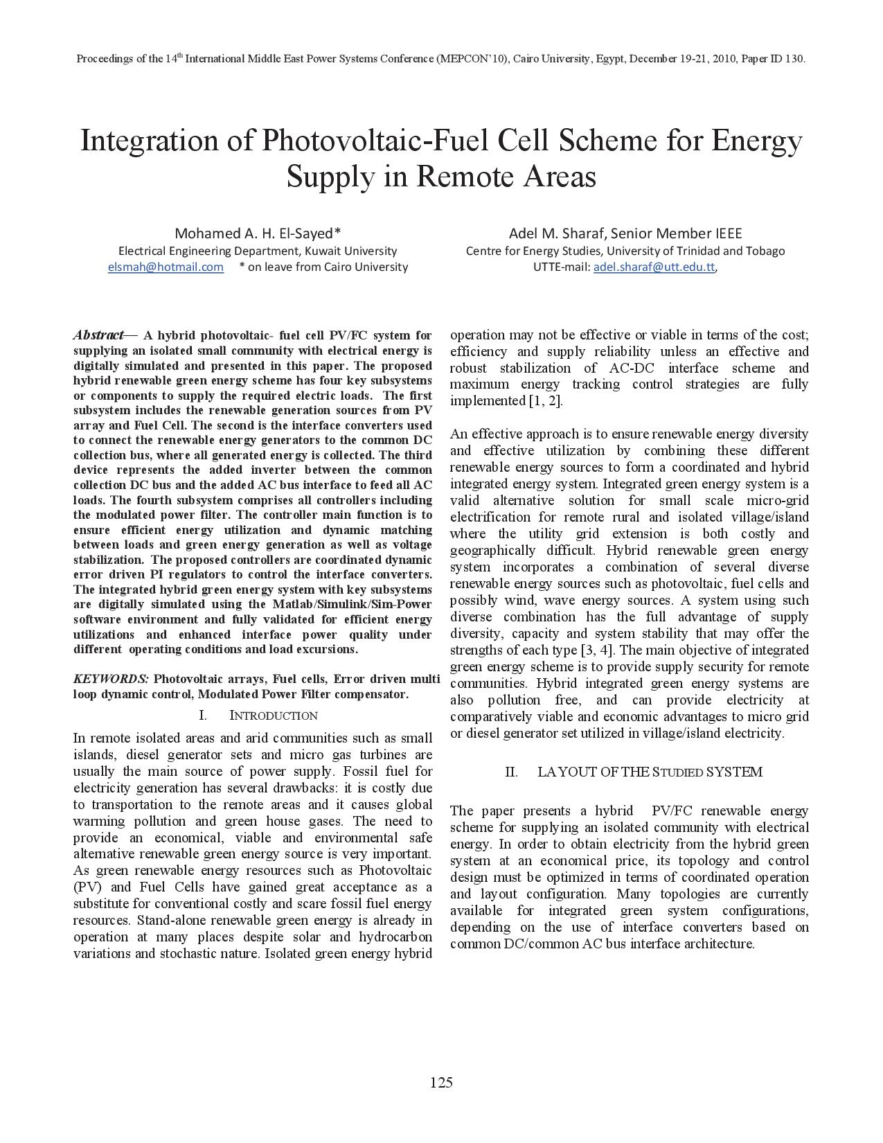 Integration of Photovoltaic-Fuel Cell Scheme for Energy Supply in Remote Areas