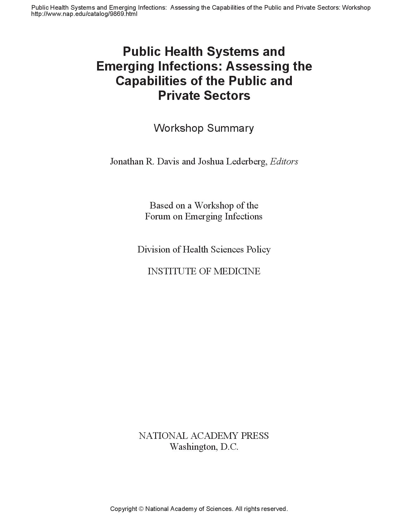 Public Health Systems and Emerging Infections: Assessing the Capabilities of the Public and Private Sectors