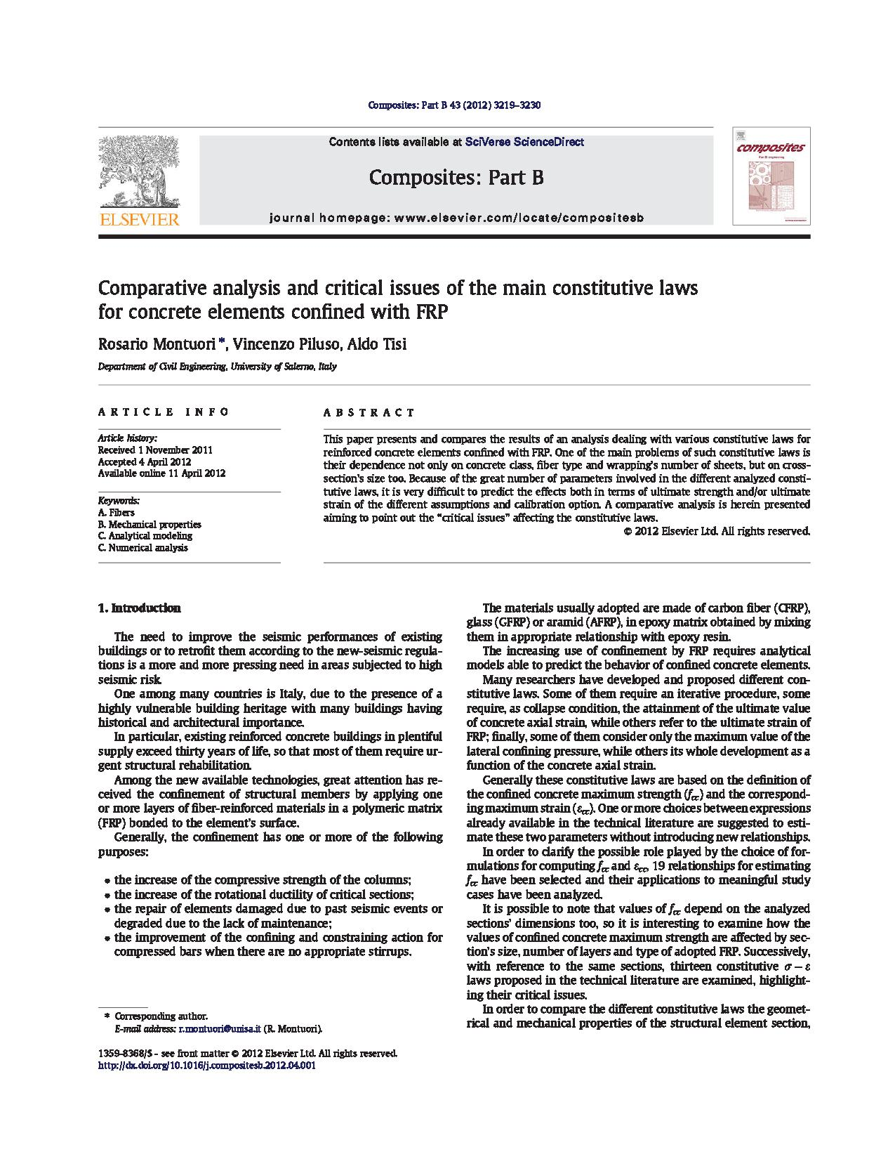 Comparative analysis and critical issues of the mail constitutive laws for concerete elements confined with FRP