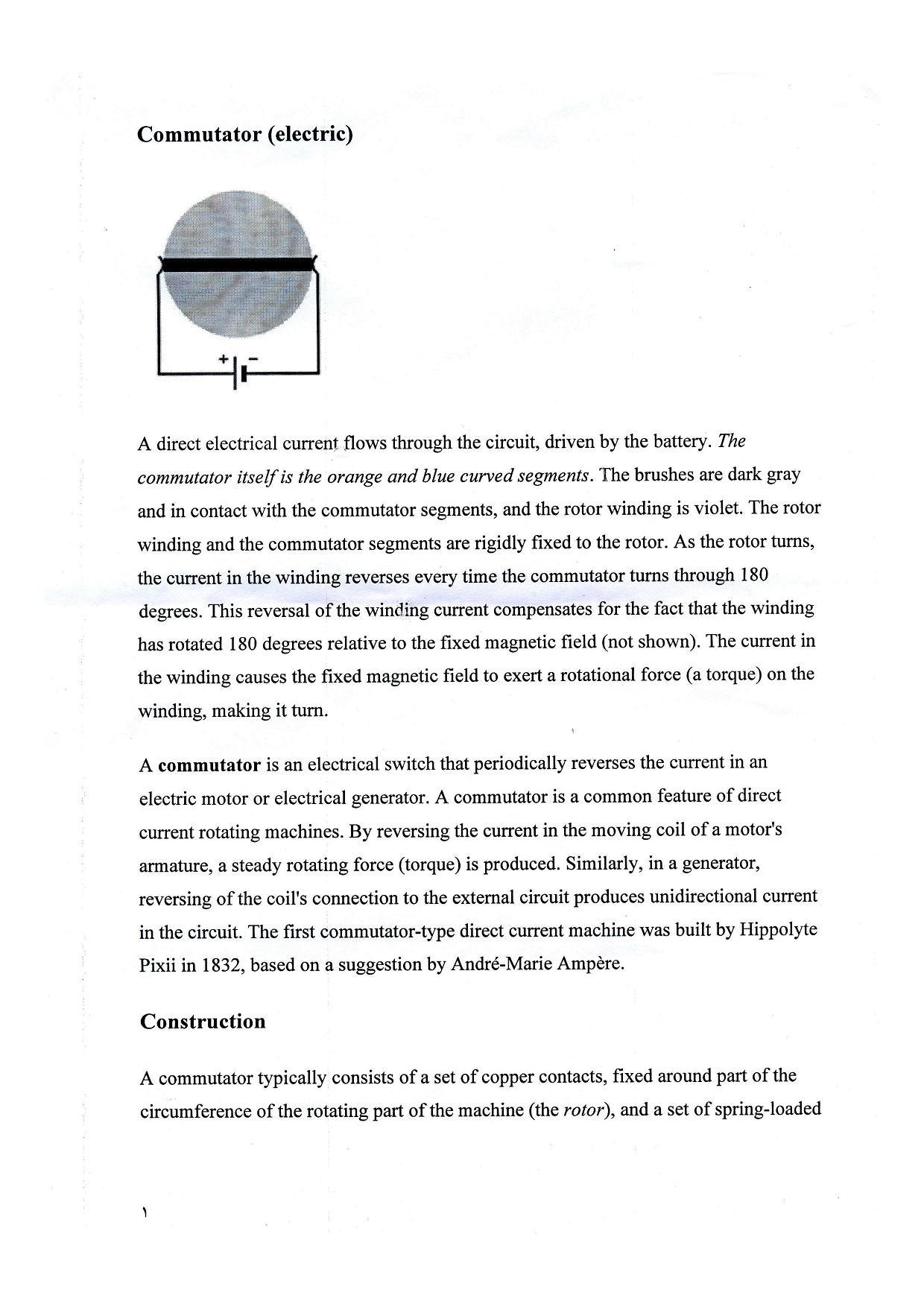 جریان الکتریکی - کموتاتور - رشته برق