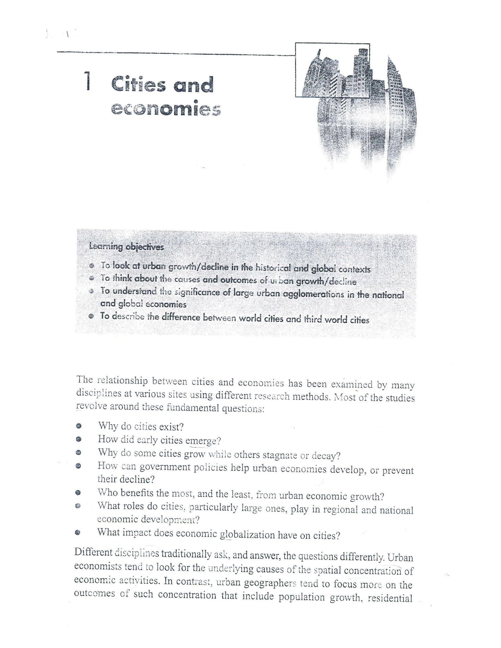 رابطه بین شهر ها و اقتصاد  cities and economies