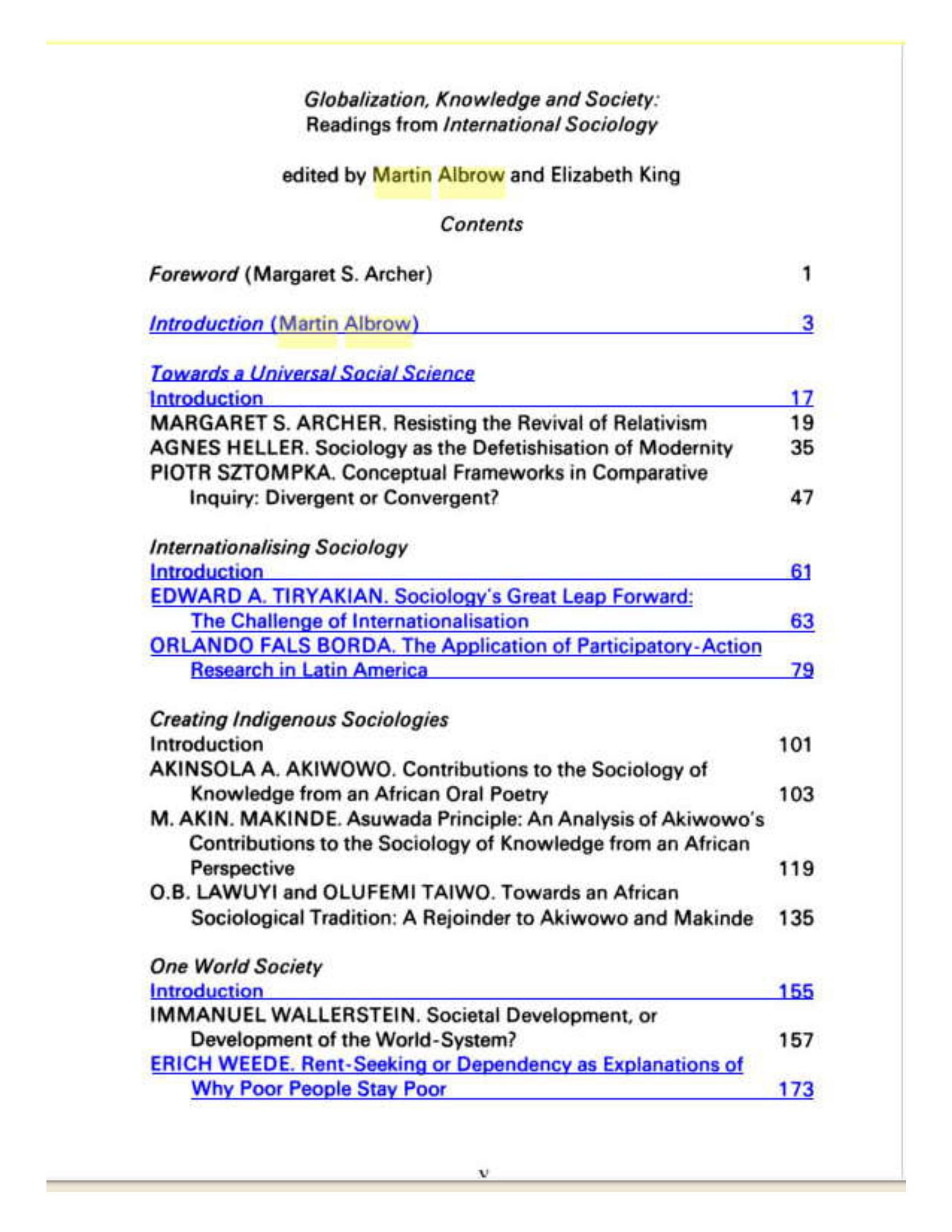 جامعه شناسی از مارتین آلبرو جامعه شناس globalization - knowledge and society