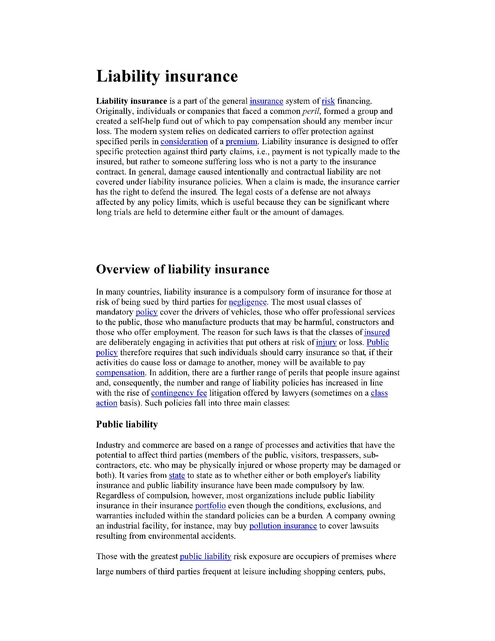بیمه مسئولیت  Liability insurance
