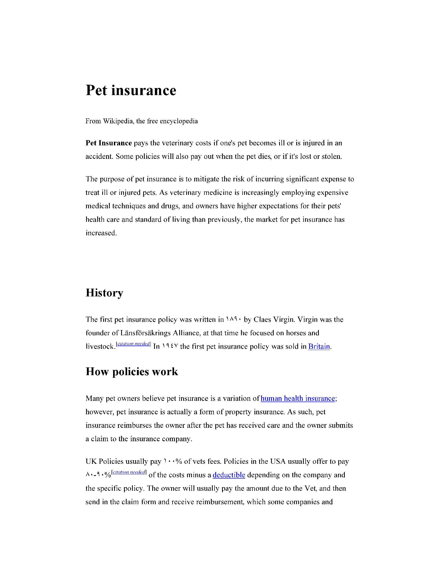 بیمه حیوانات خانگی  Pet insurance