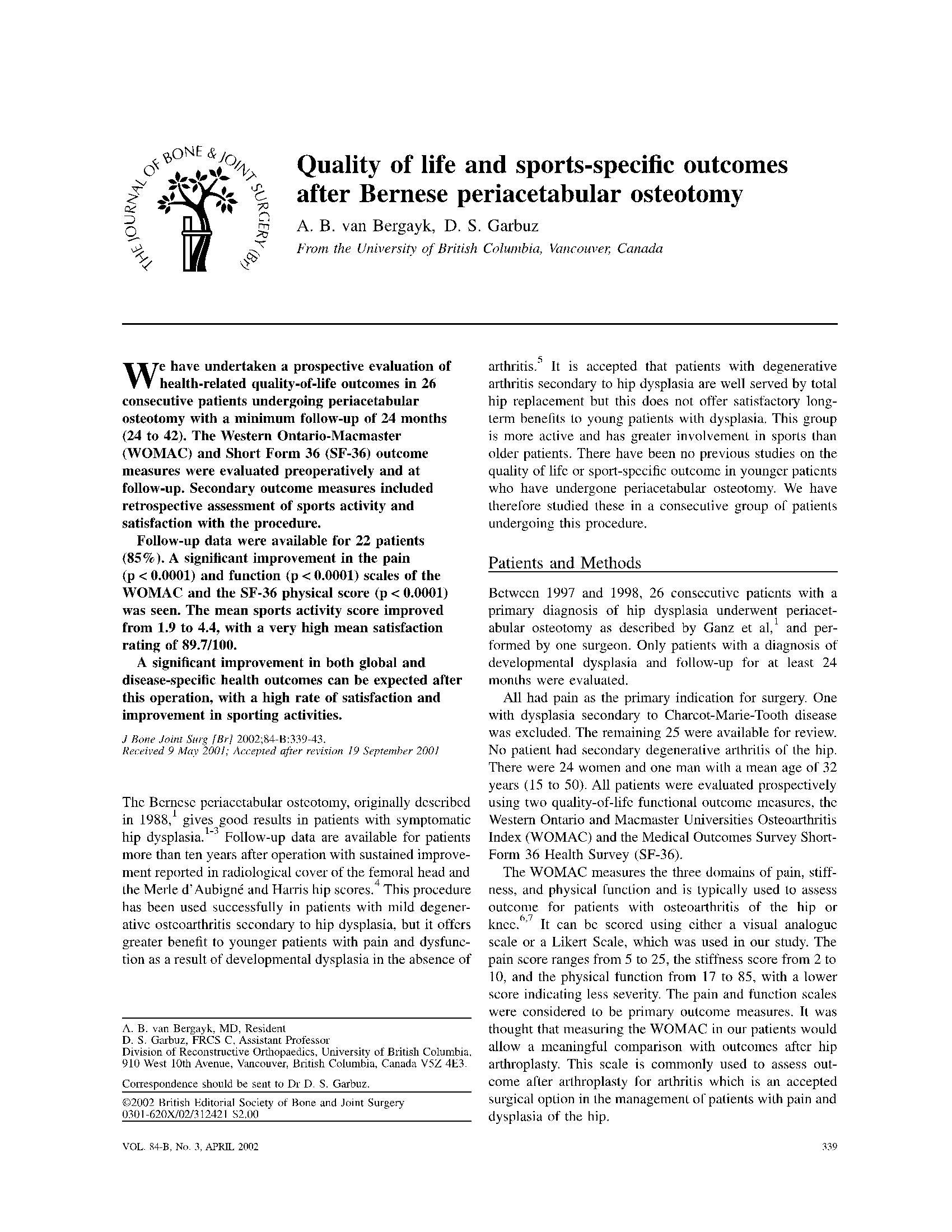 نتیجه کیفیت زندگی و شاخصه های ورزشی پس از جراحی پریکاردیت استخوان مفصلی Quality of life and sports-specific outcomes after Bernese periacetabular osteotomy