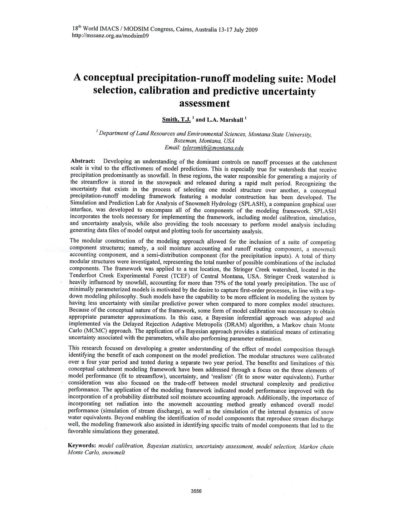 Aconceptual precipitation-run off modeling suite; model selection,calibration and predic tive uncertainty assessment7