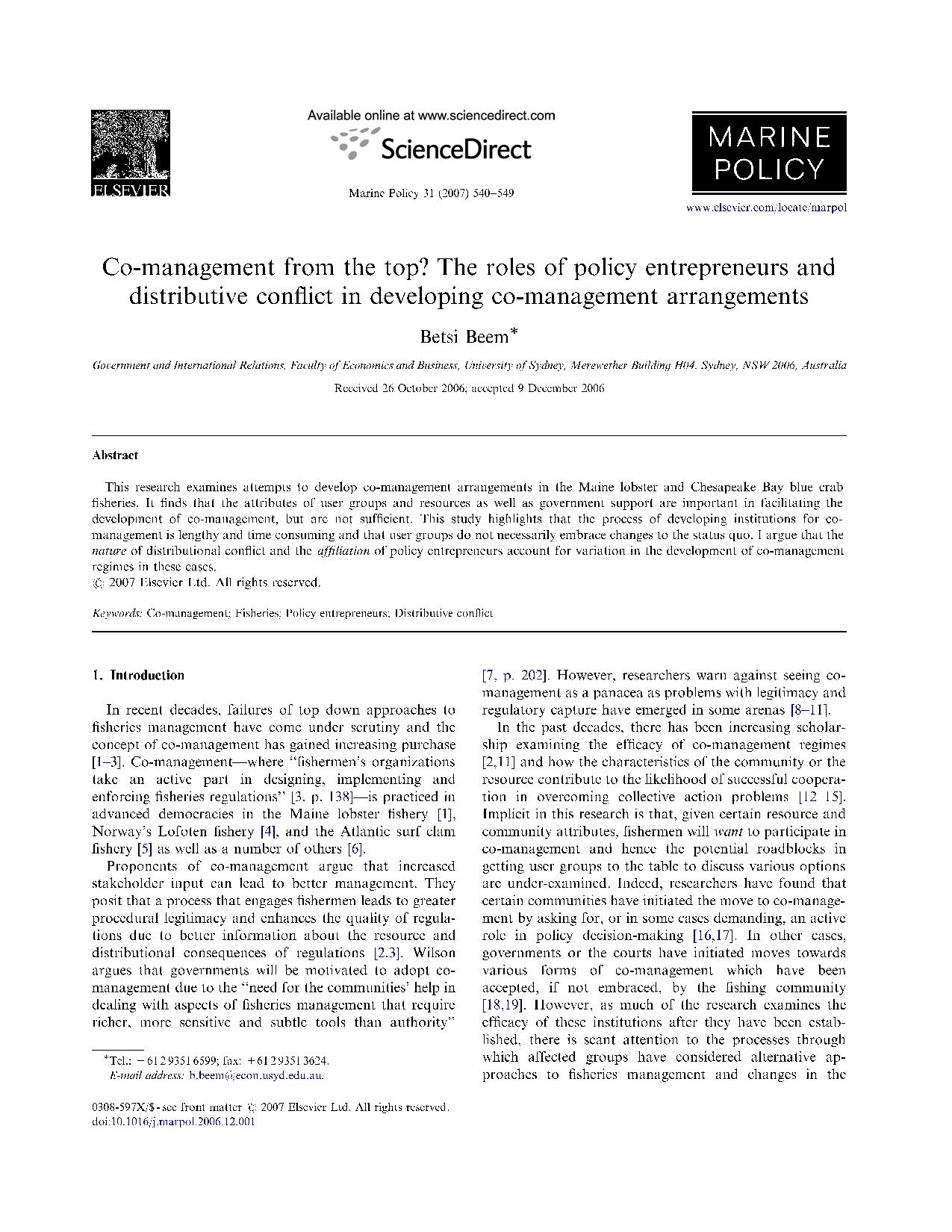 Co-management from the top? The roles of policy entrepreneurs and distributive conflict in developing co management arrangements15