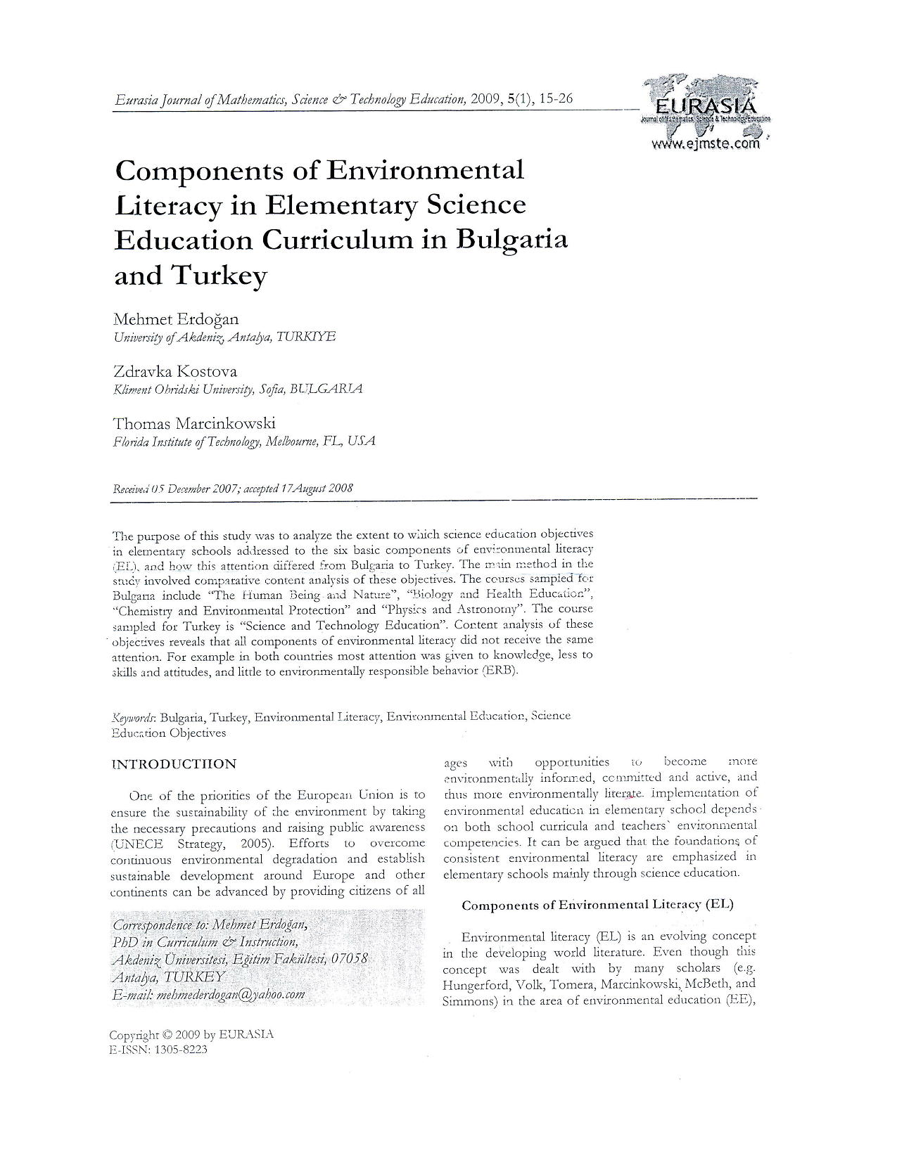 Components of Environmental Literacy in Elementay Science Education Curriculum in Bulgaria and Turkey7