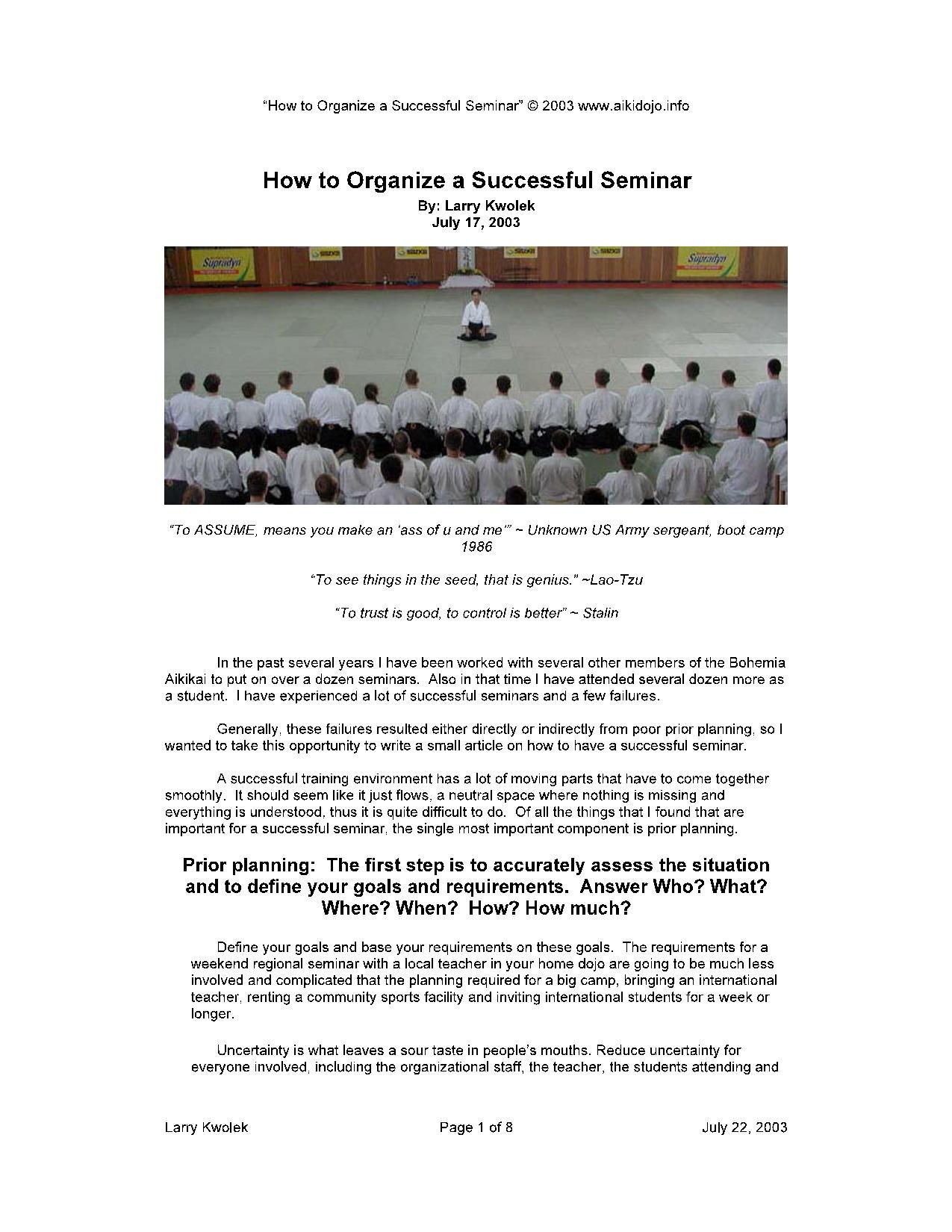 How to Organize a Successful Seminar8