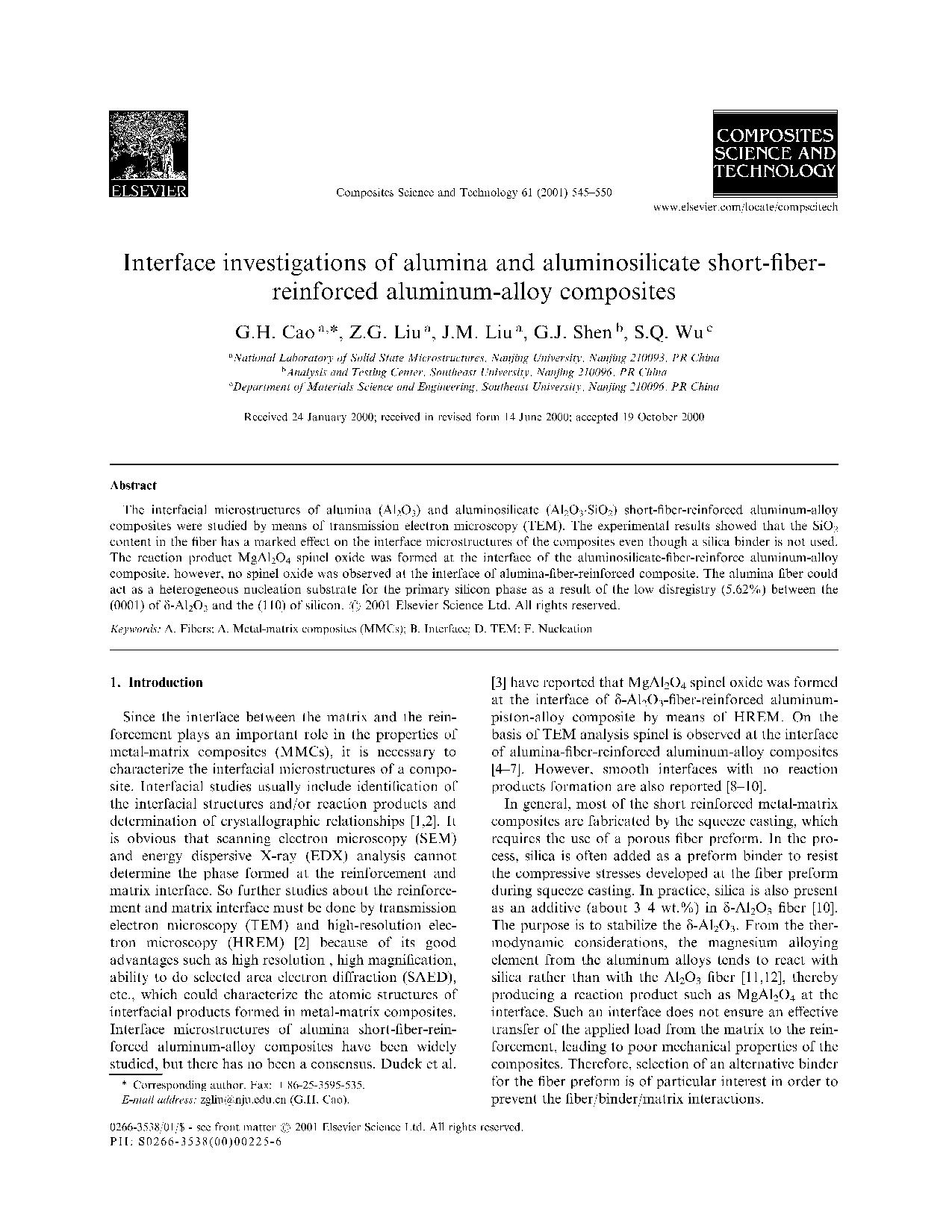Iterface in vesting ations of alumina and aluminosilicate short-fiber-reinforced aluminum-alloy composites8