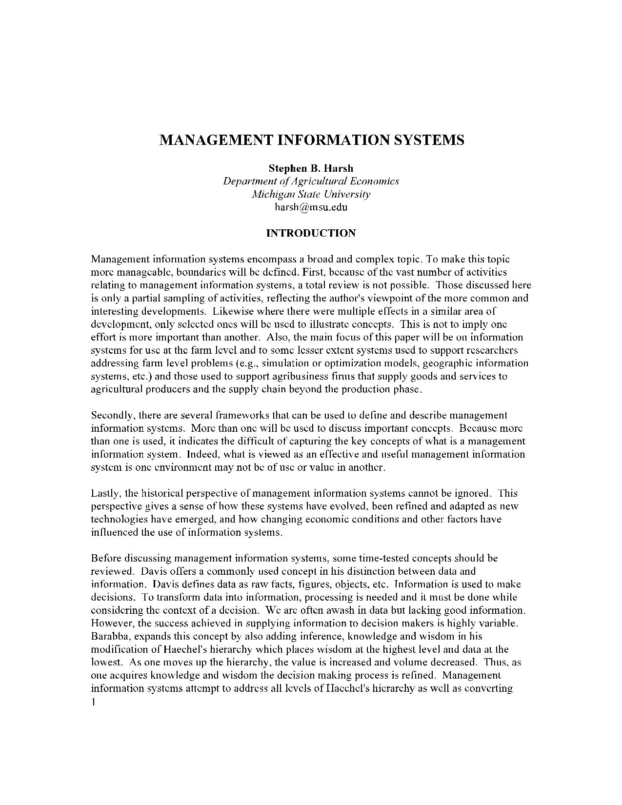 MANAGEMENT INFORMATION SYSTEMS16