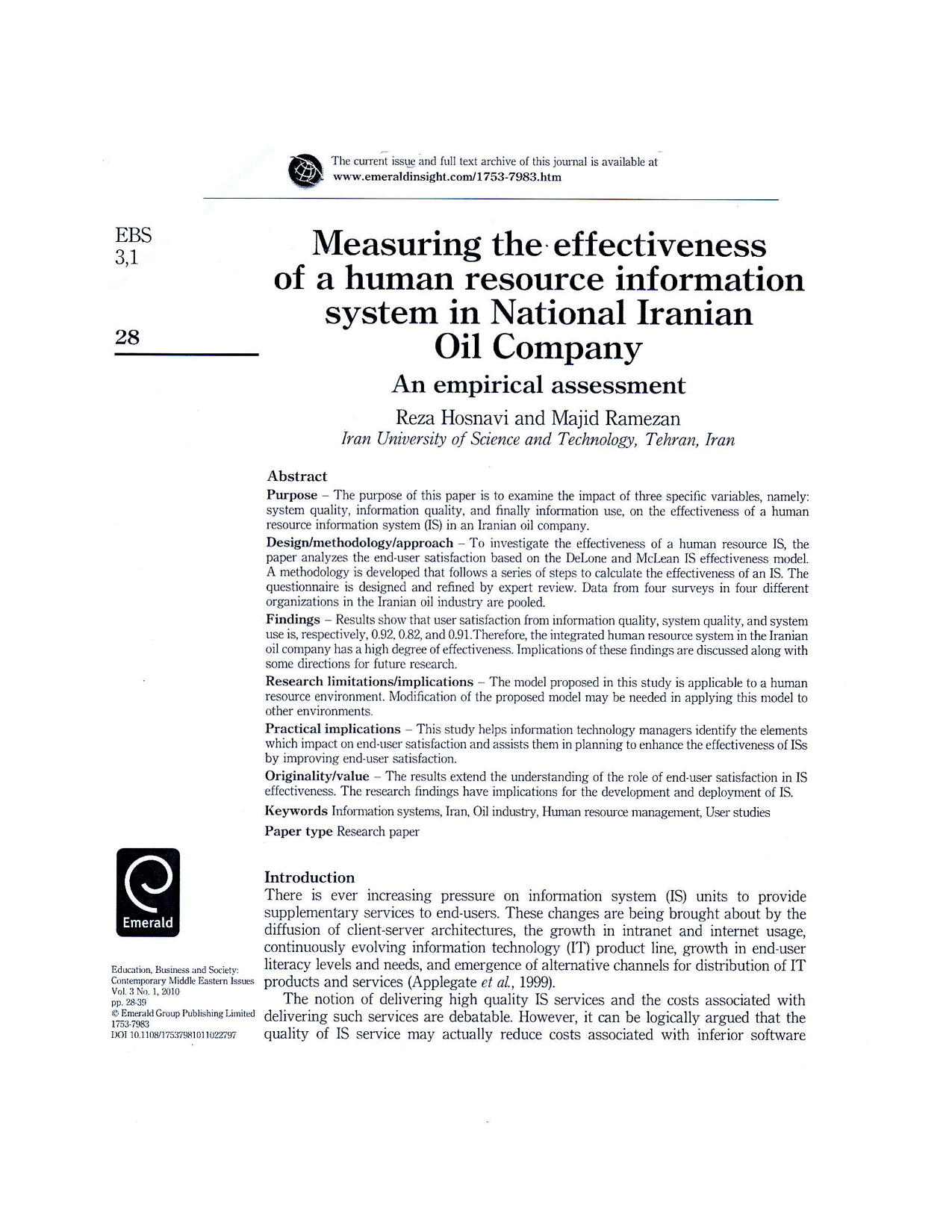 Measuring the effectivenss of a human resource in for mation system in National Iranian Oli Comany10