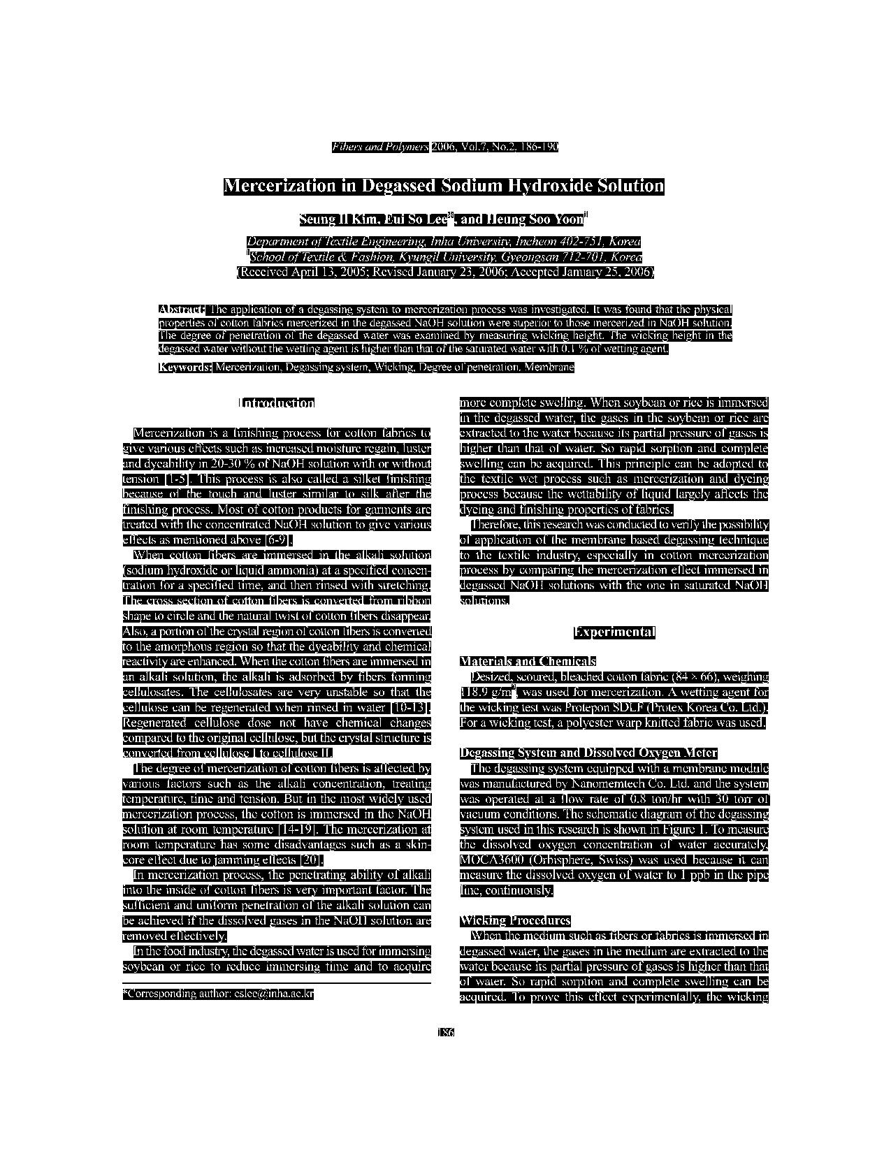 ترجمه مقاله و تحقیق - مرسریزه کردن در محلول هیدروکسید سدیم گاز زدایی شده سیانگ II کیم ، ایوسولی و هینونگ سویون بخش مهندسی نساجی