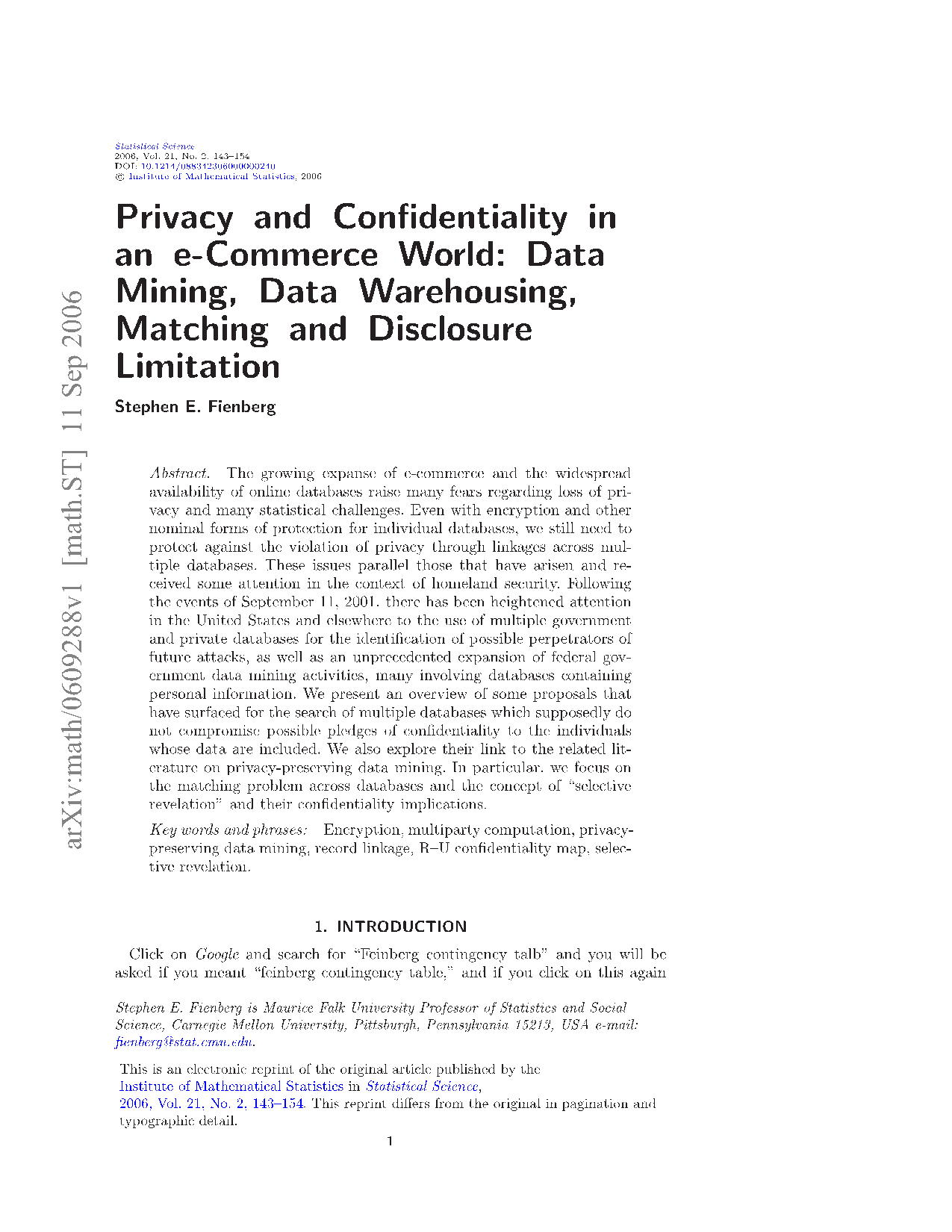 Privacy and Confidentiality in 13