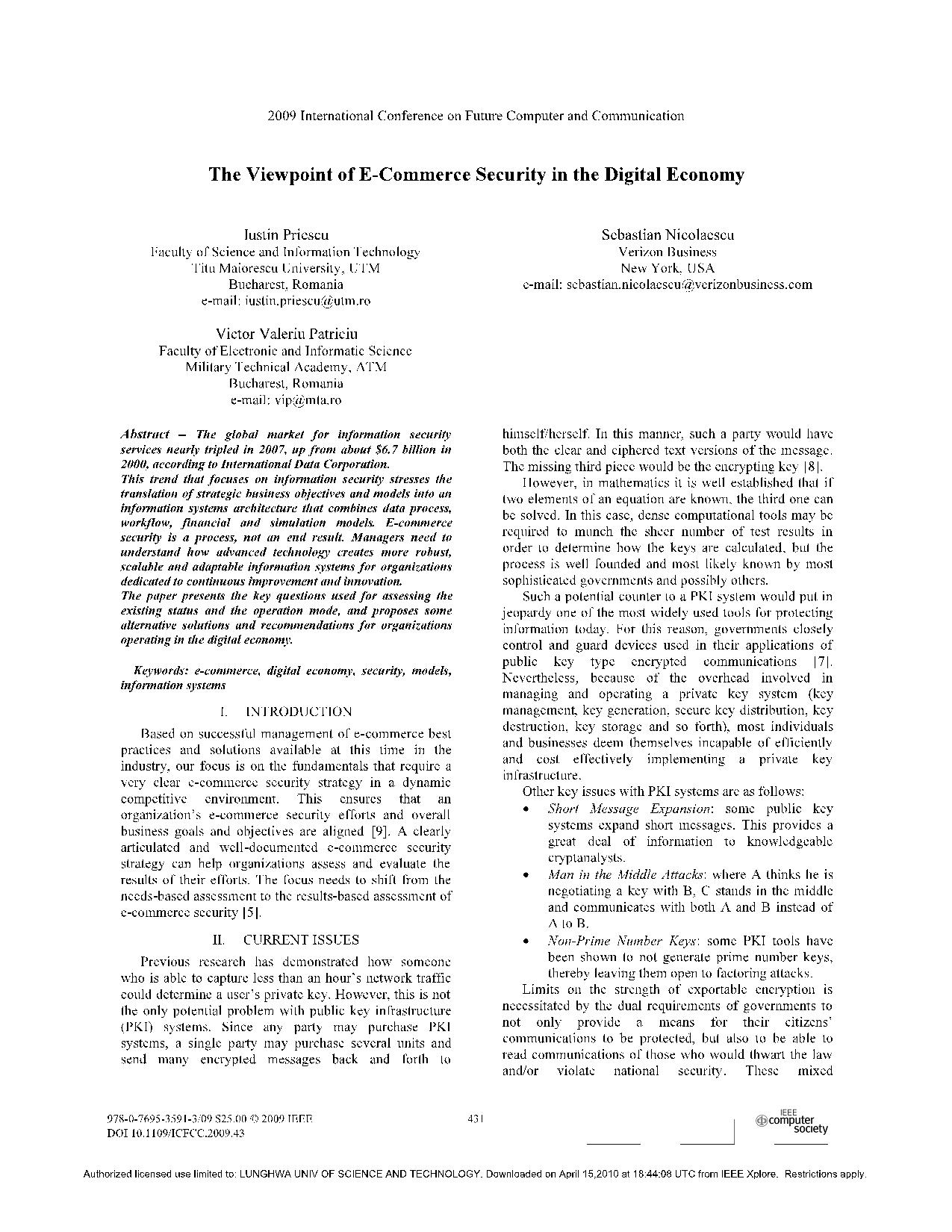 The Viewpoint of E-Commerce Security in the Digital Economy 6