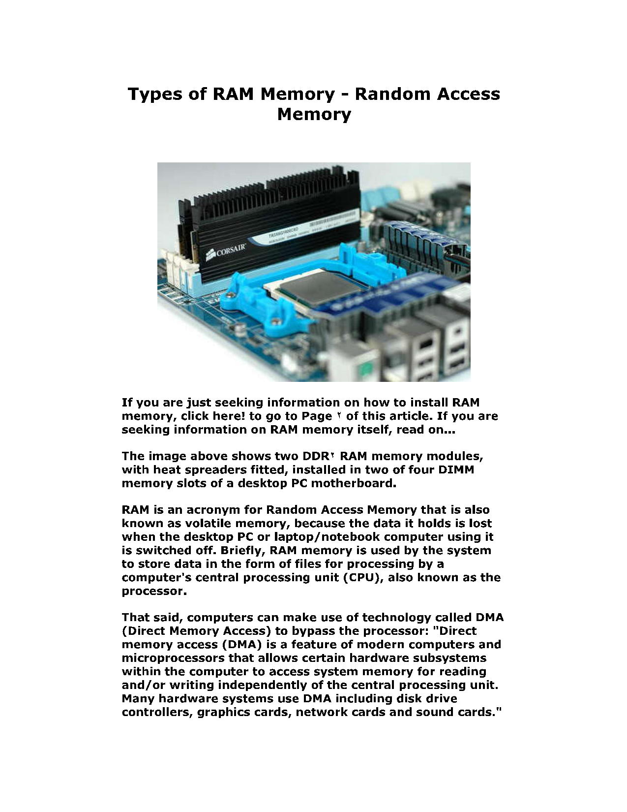 Types of RAM Memory - Random Access Memory 4
