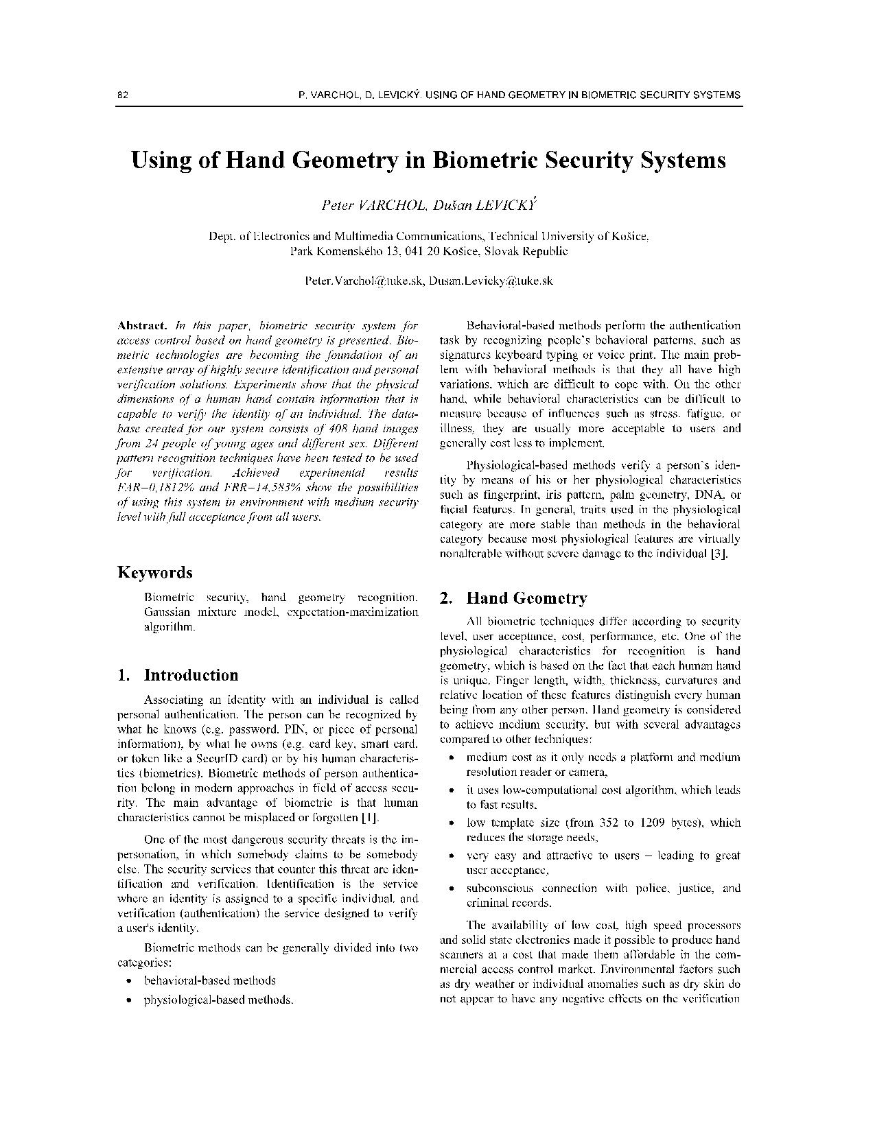 Using of Hand Geometry in Biometric Security Systems 12