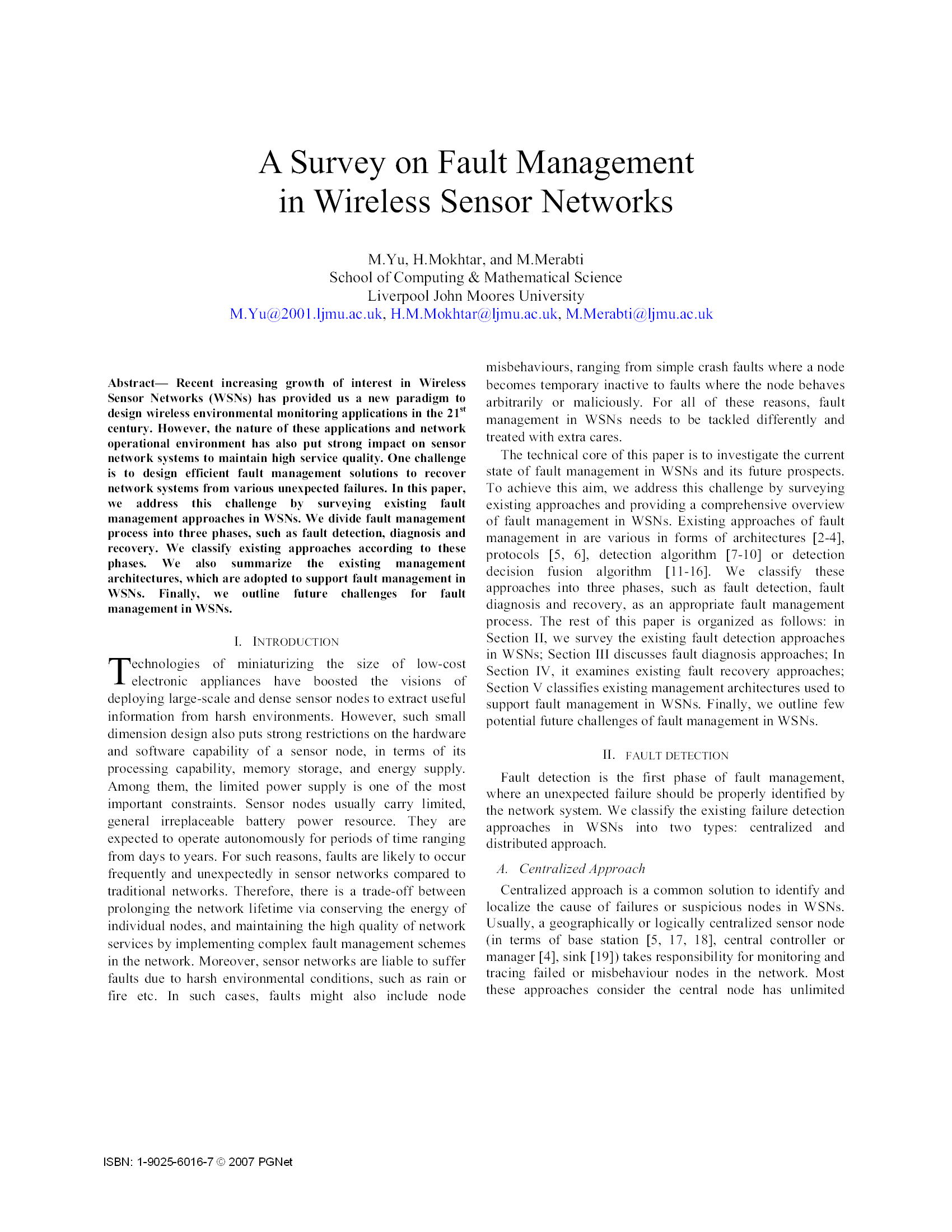 A Survey on Fault Management in Wireless Sensor Networks6