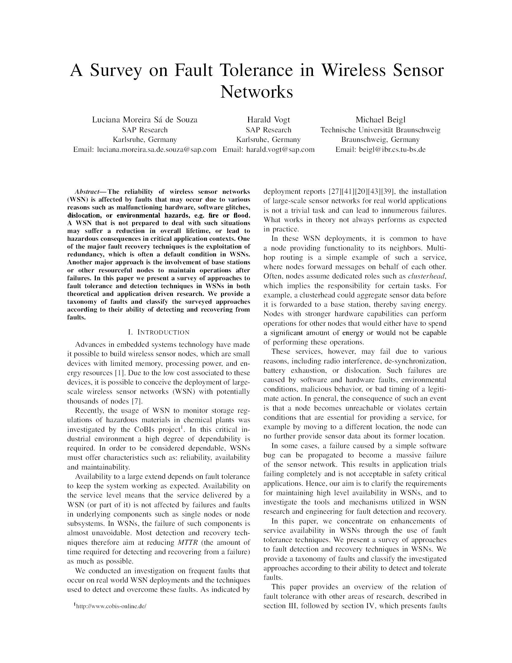 A Survey on Fault Tolerance in Wireless Sensor Networks11
