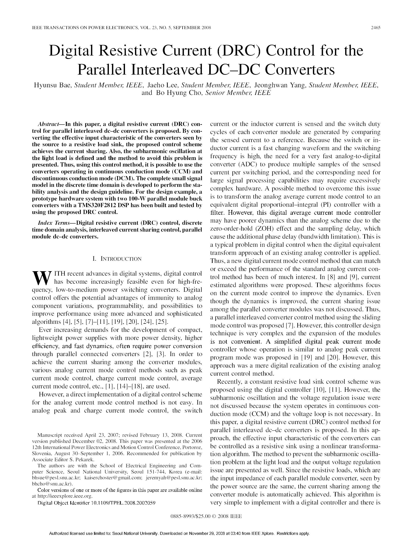 Digital Resistive Current (DRC) Control for the12