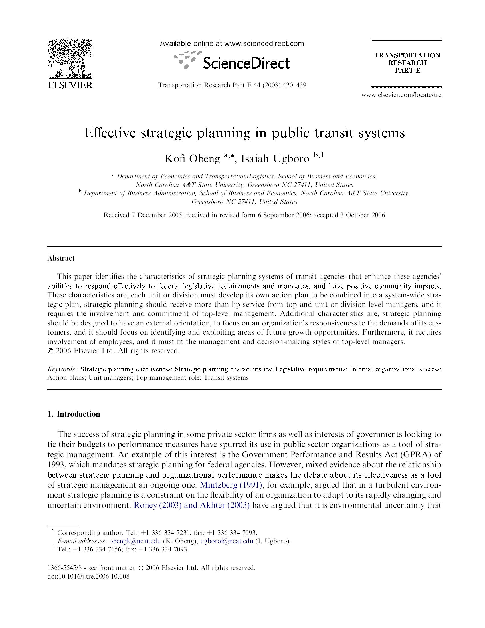 Effective strategic planning in public transit systems 20