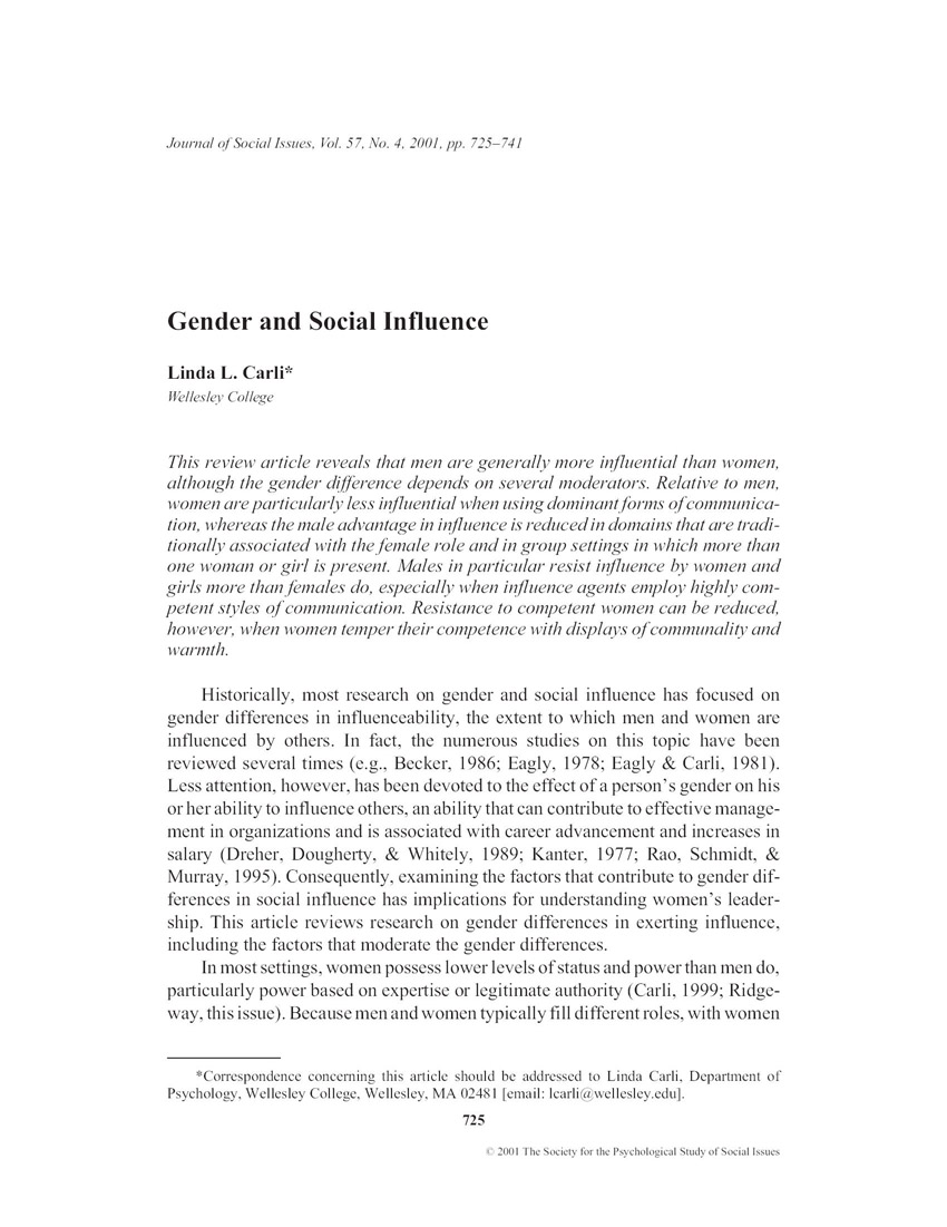 social influence article review