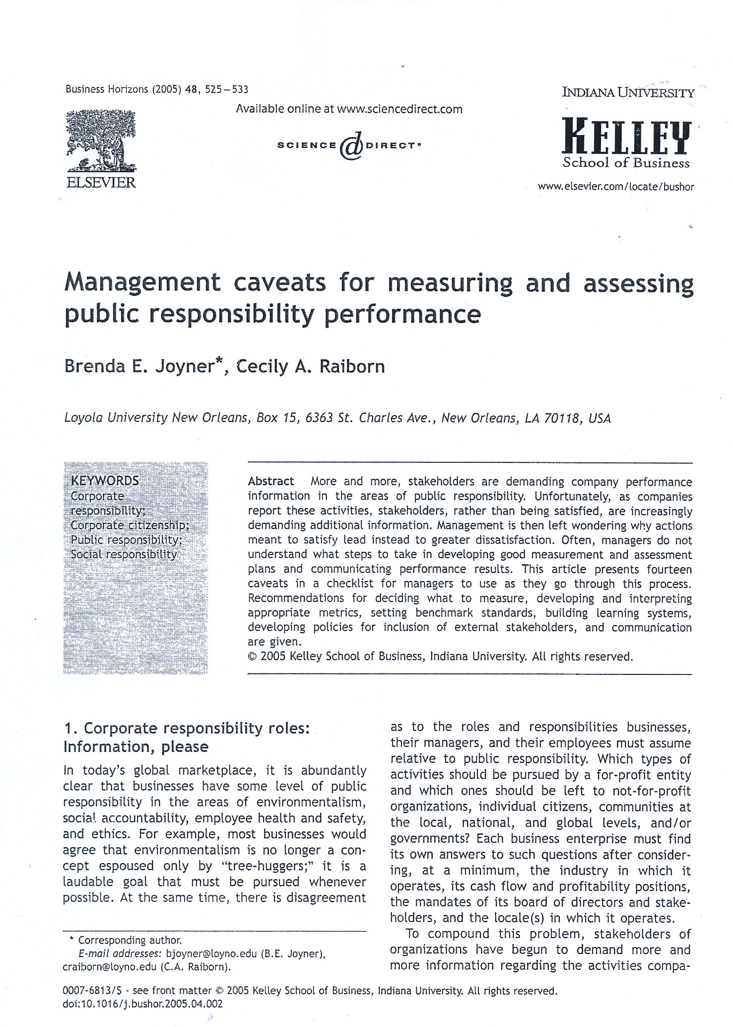 management caveats for measuring and assessing 17