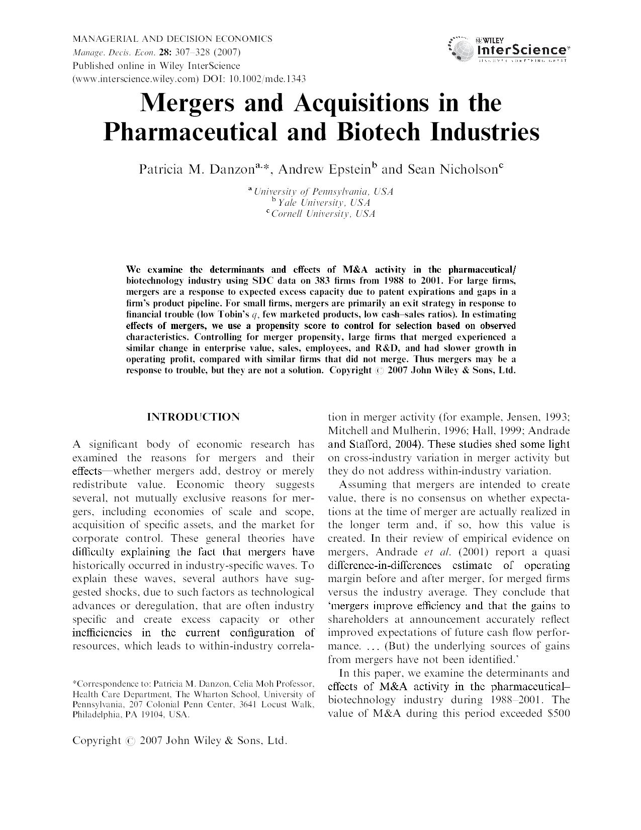 Mergers and Acquisitions in the Pharmaceutical and Biotech Industries 25