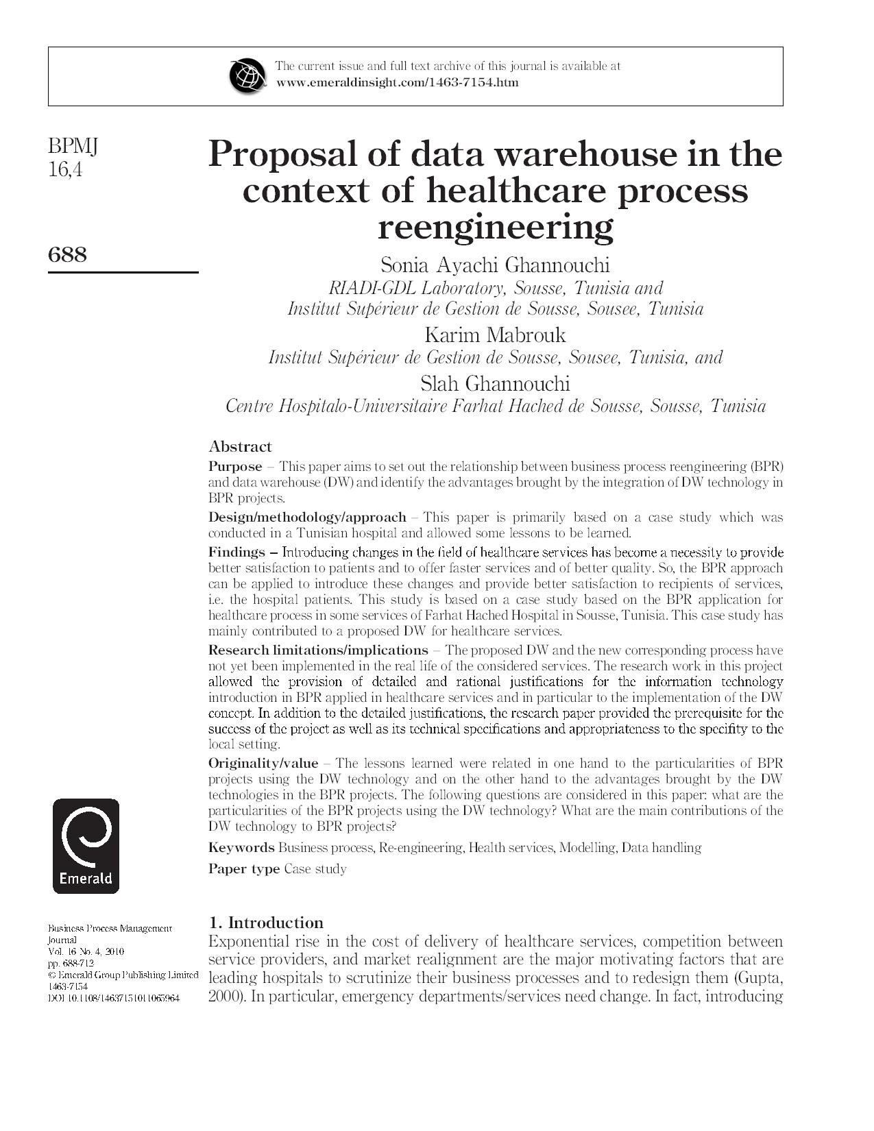 Proposal of data warehouse in the context of healthcare process  reengineering23