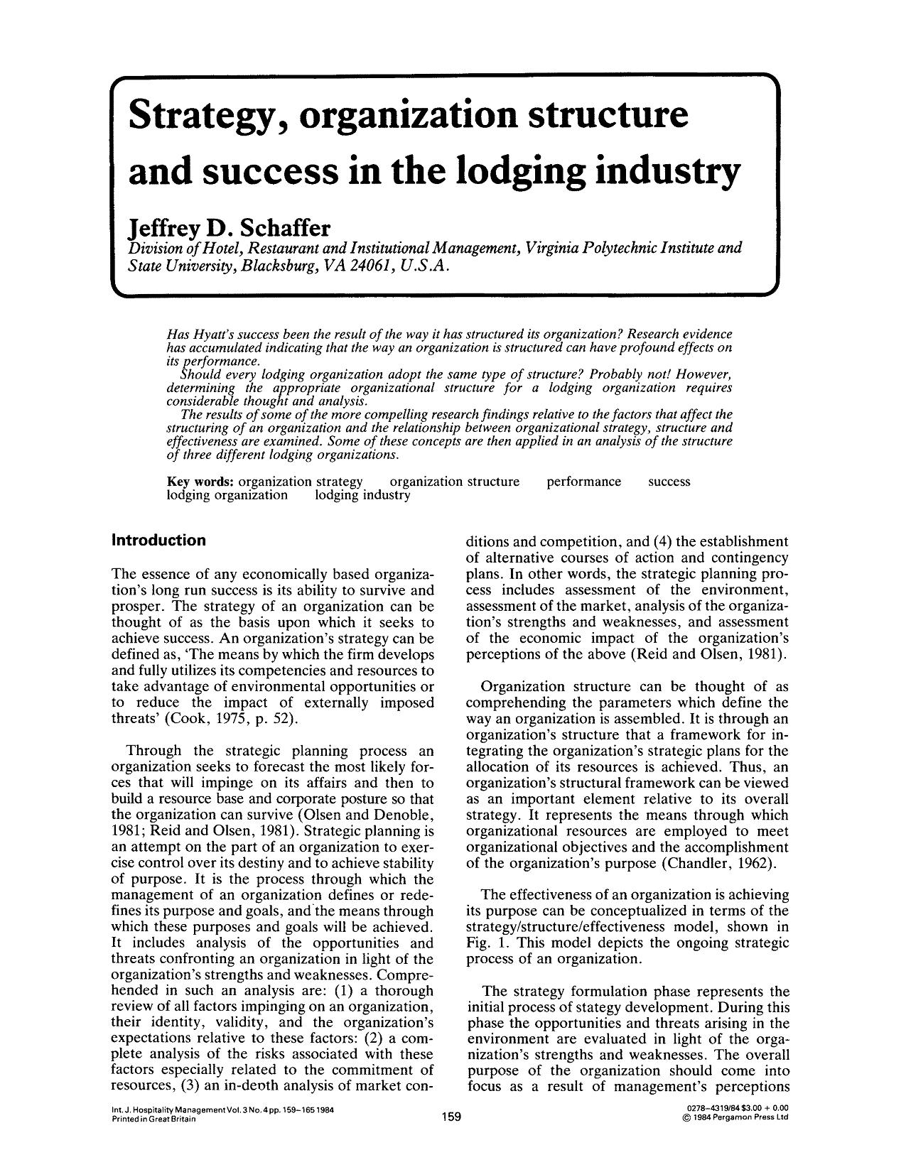 Strategy, organization structure and success in the lodging industry 6