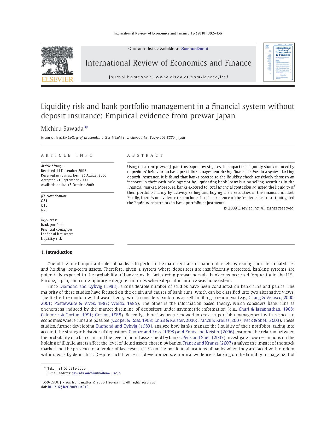 Liquidity risk and bank portfolio management in a financial system without