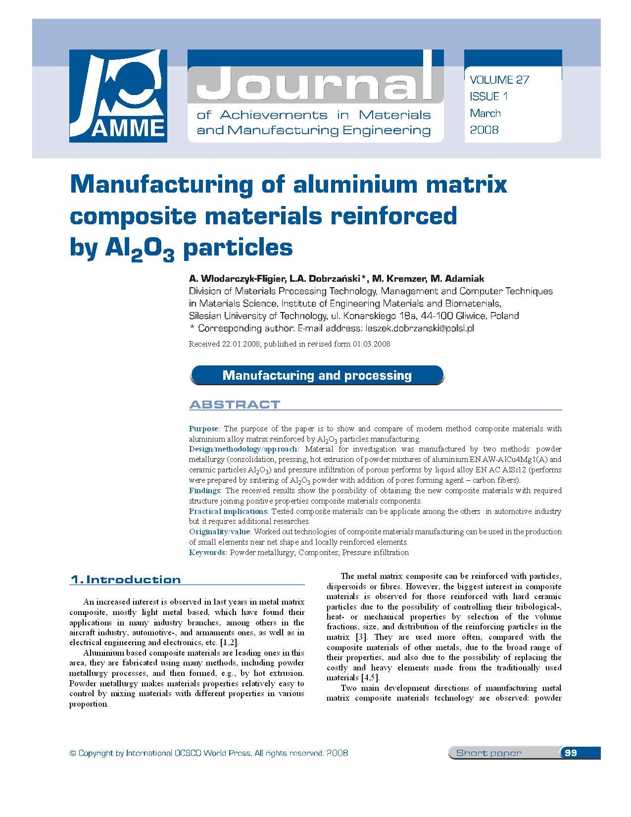Manufacturing of aluminium matrix composite materials reinforced