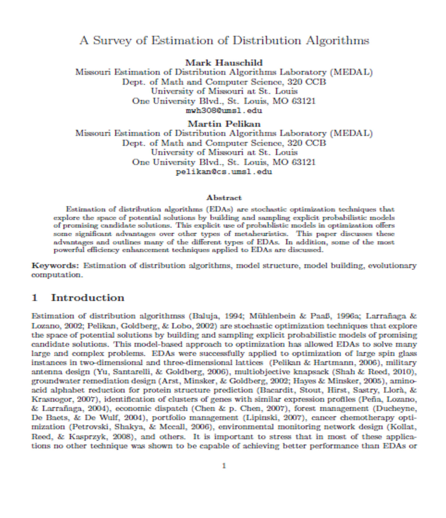 A Survey of Estimation of Distribution Algorithms 23