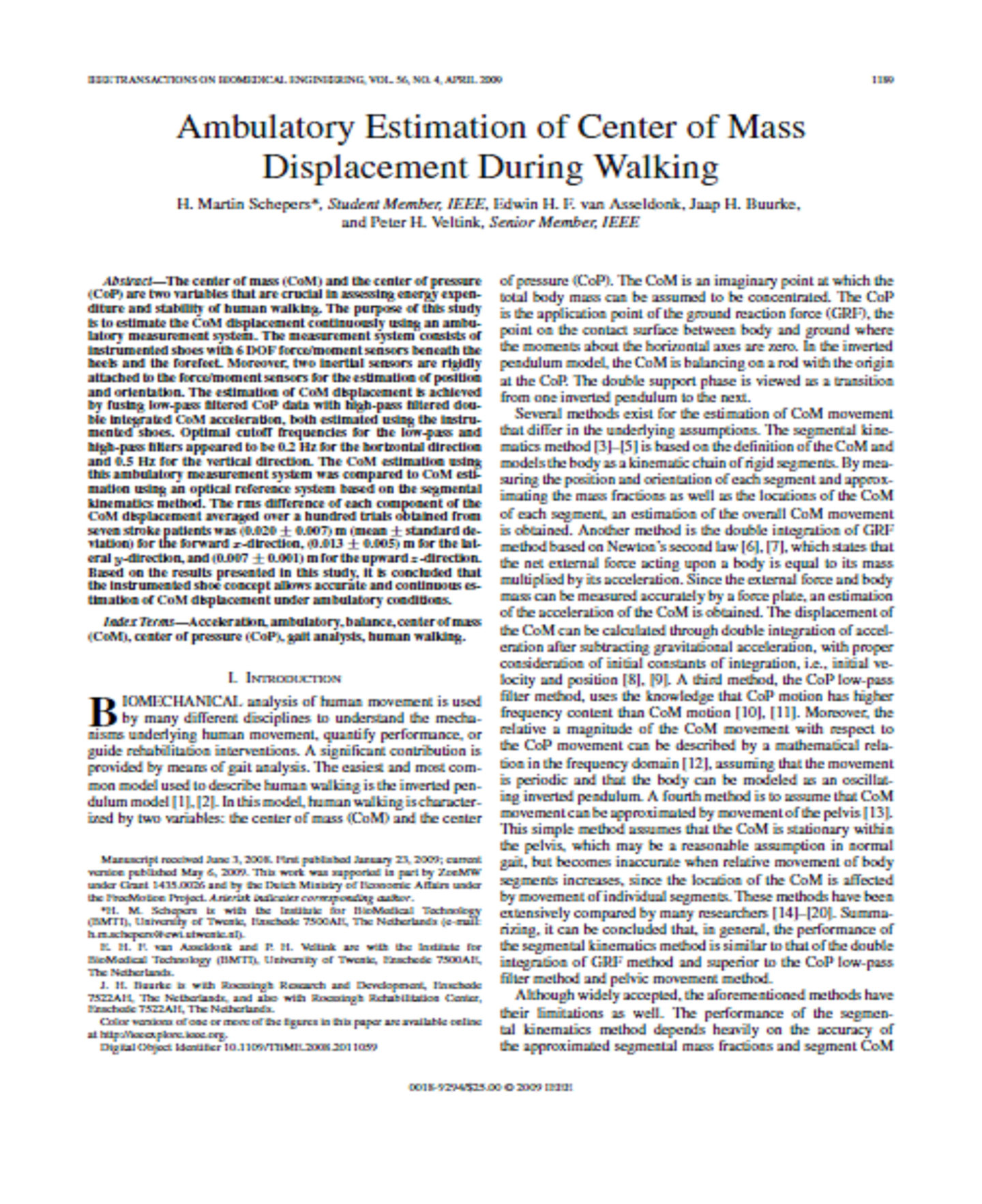 Ambulatory Estimation of Center of Mass Displacement During Walking 7