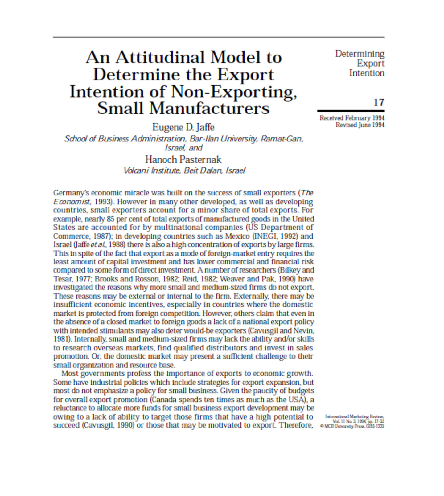 An Attitudinal Model toDetermine the ExportIntention of Non-Exporting,Small Manufacturers 16