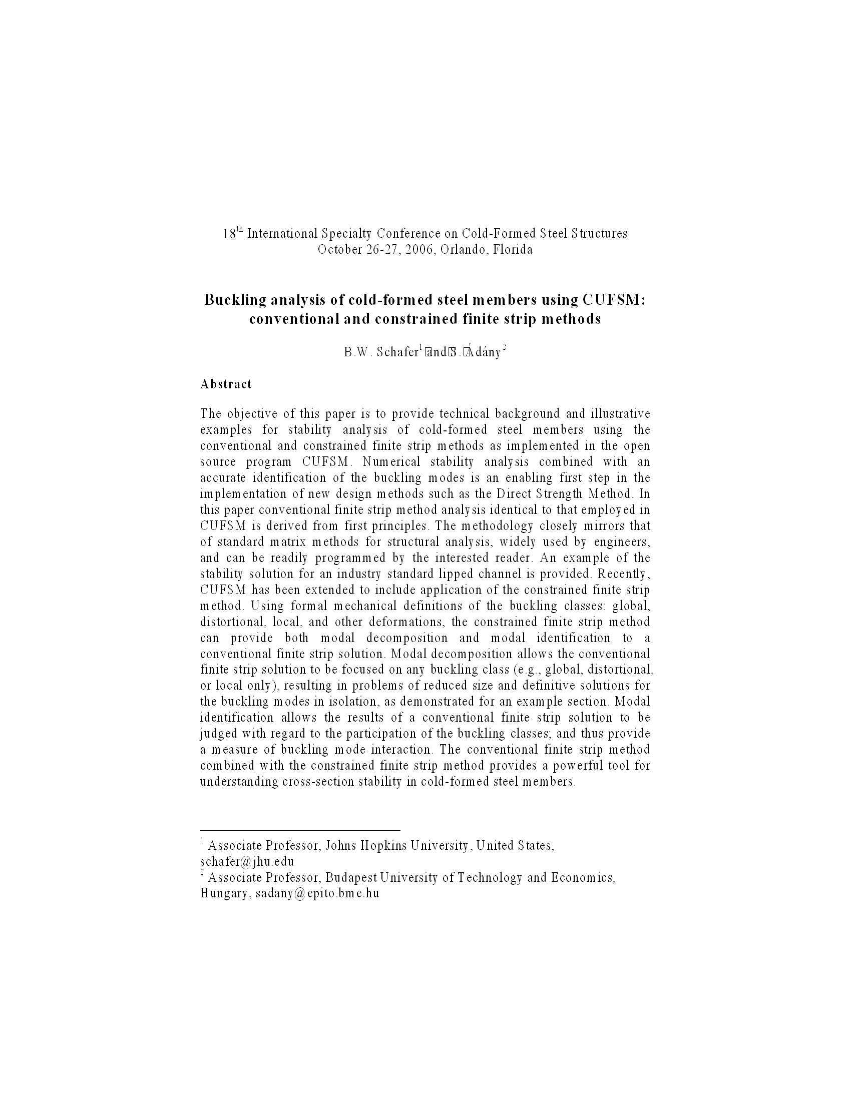 Buckling analysis of cold-formed steel members using CUFSM: conventional and constrained finite strip methods 16