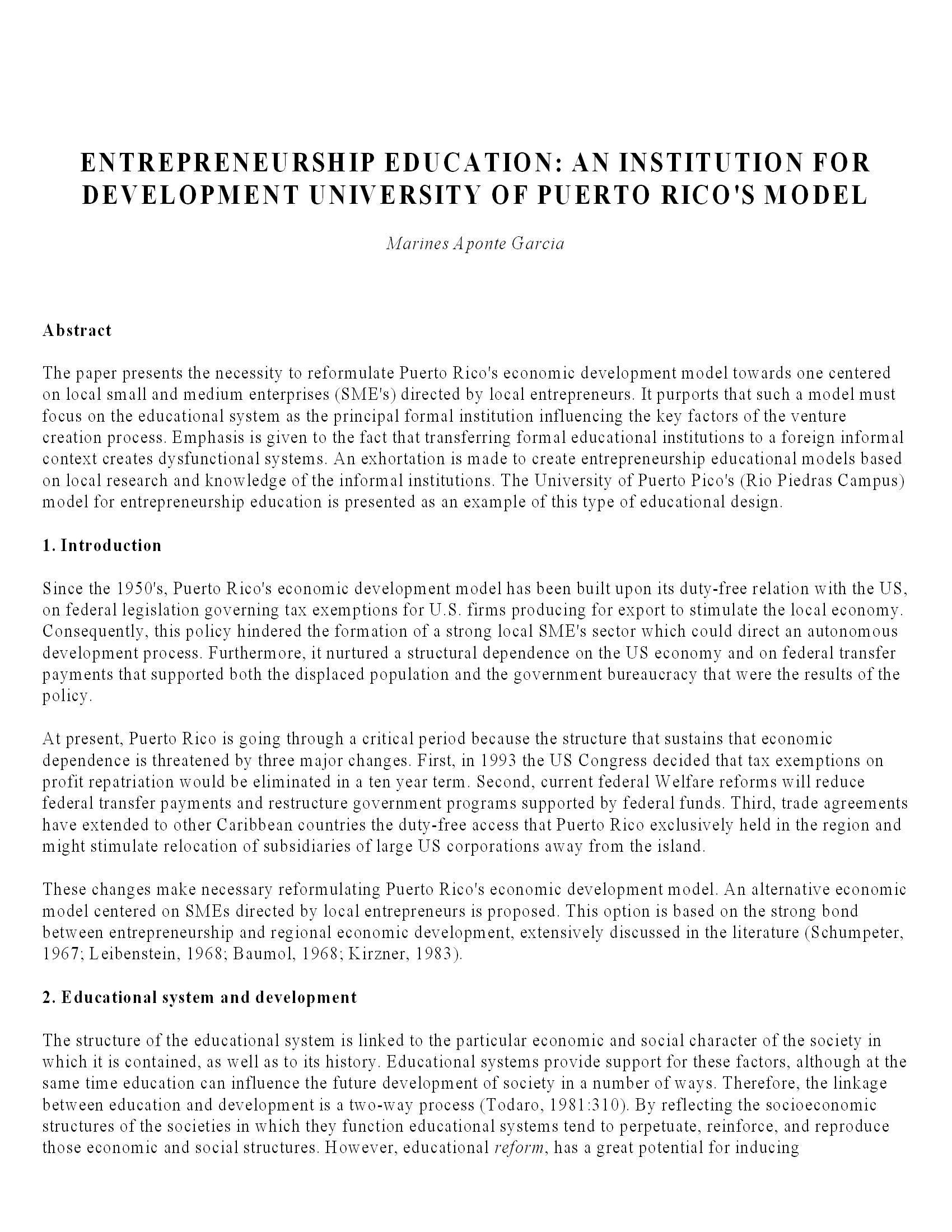 AN INSTITUTION FOR DEVELOPMENT UNIVERSITY OF PUERTO RICO S MODEL 7