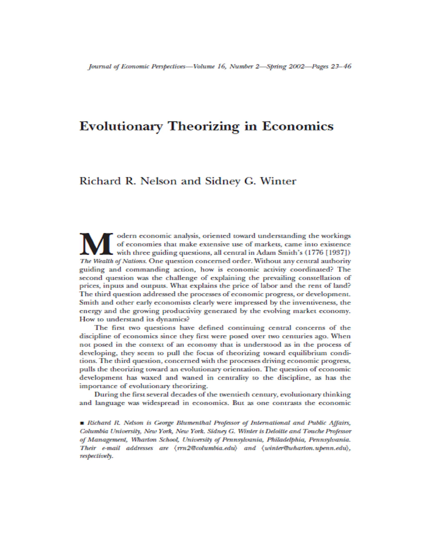 Evolutionary Theorizing in Economics 24