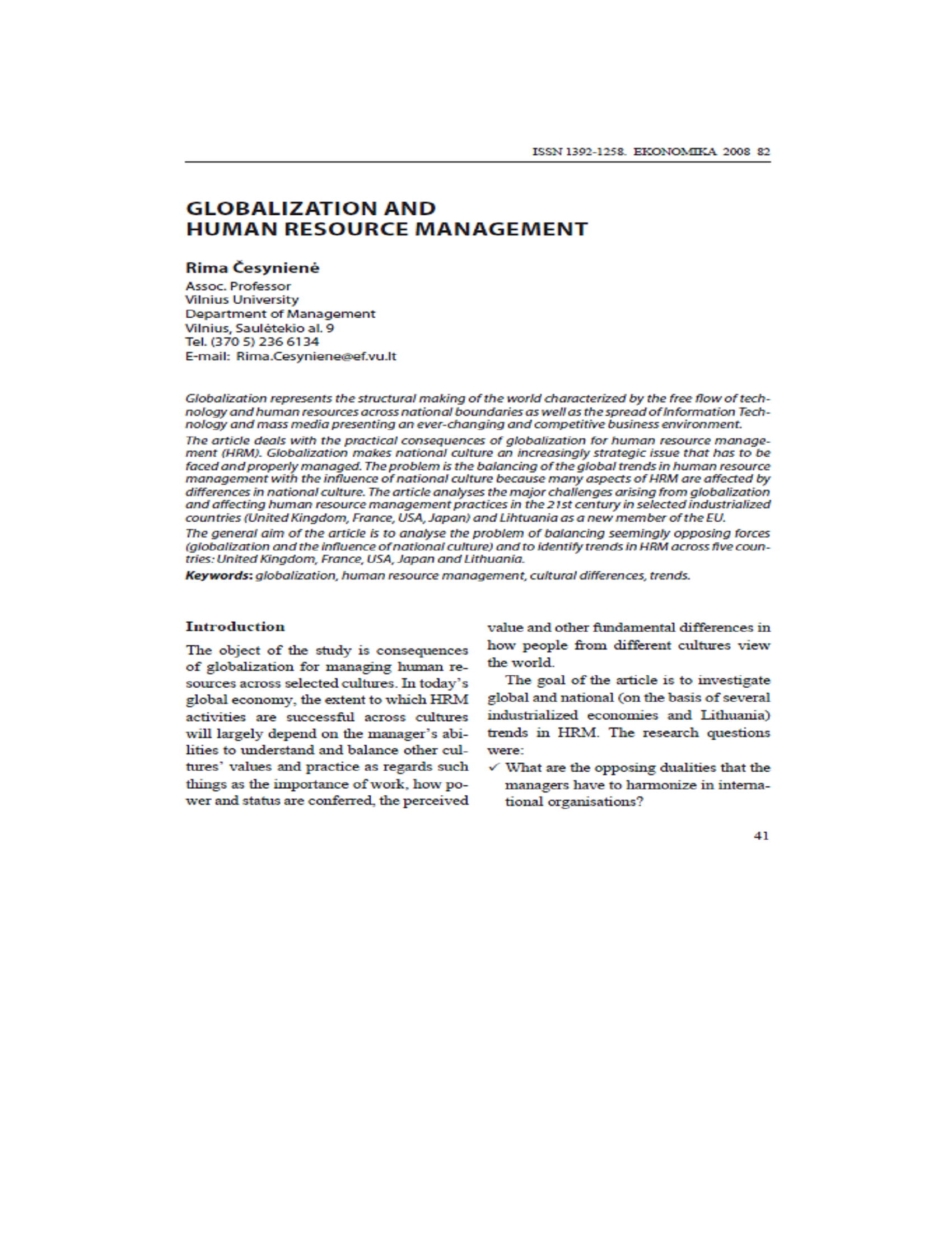GLOBALIZATION AND HUMAN RESOURCE MANAGEMENT 16