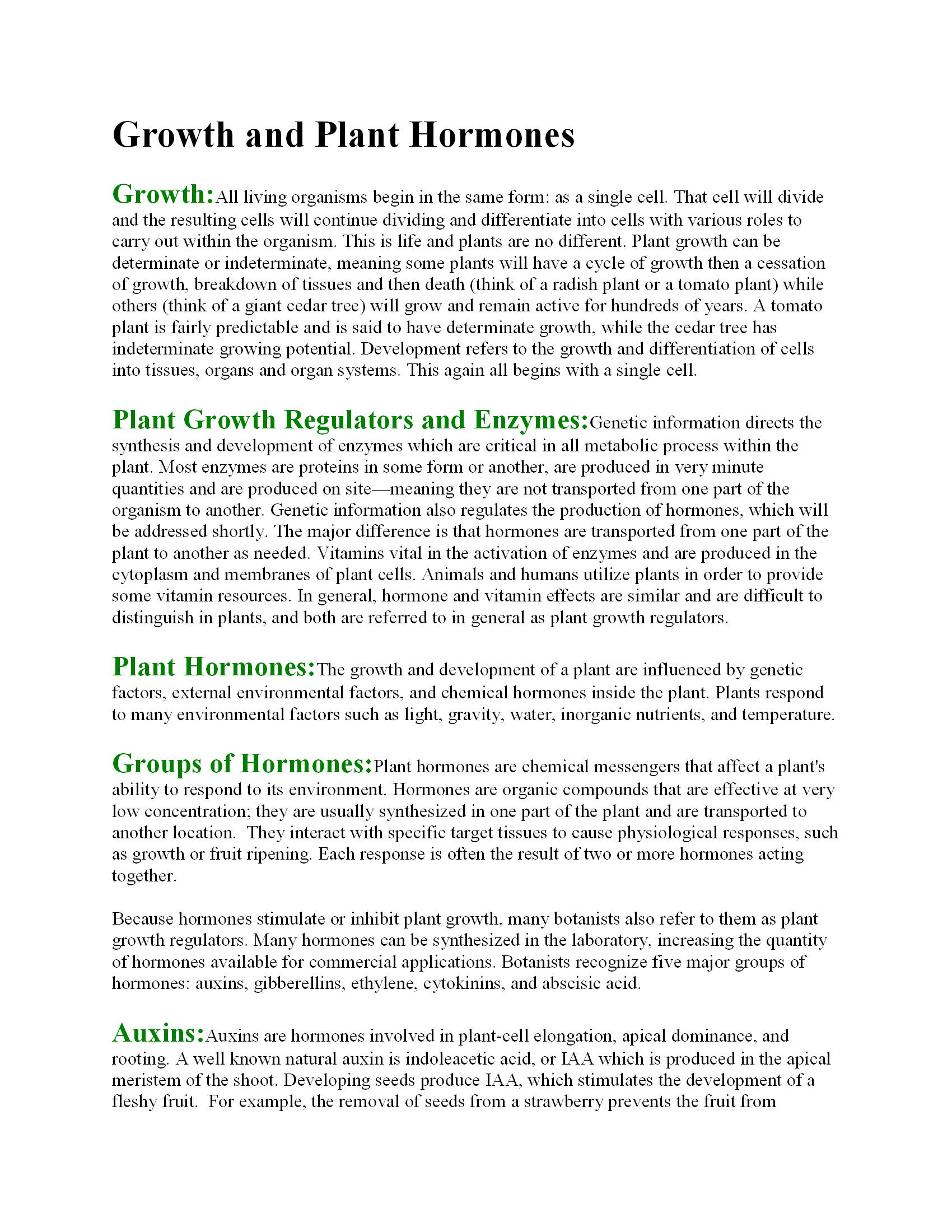 Growth and Plant Hormones  6