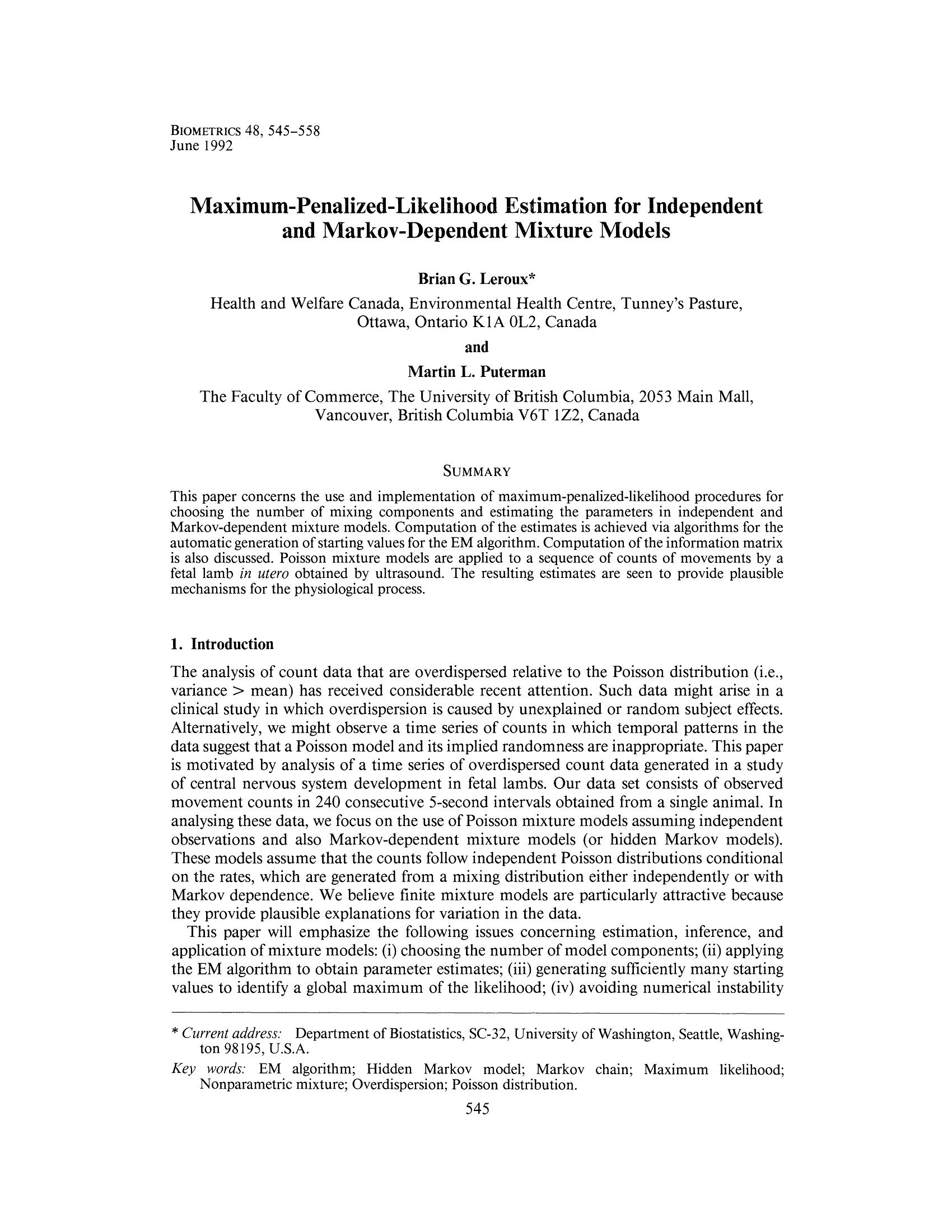 Maximum-Penalized-Likelihood Estimation for Independe and Markov-Dependent Mixture Models 14
