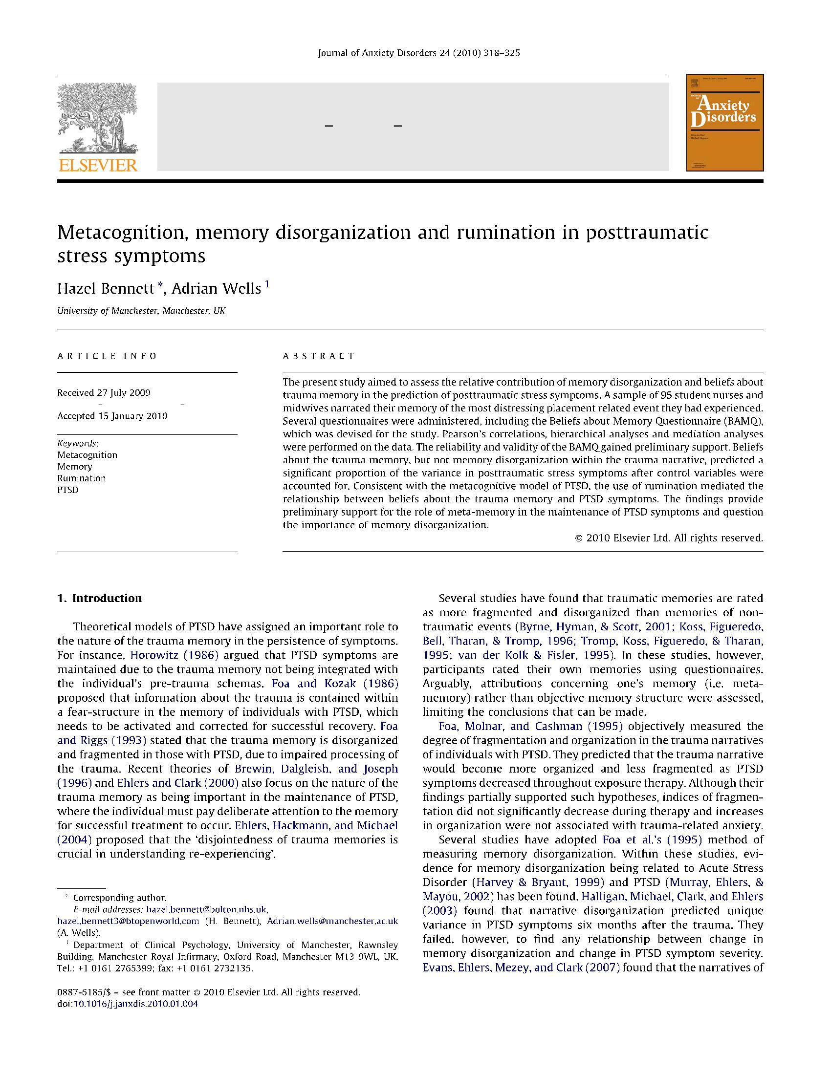 Metacognition   memory disorganization and rumination in posttraumatic stress symptoms 8
